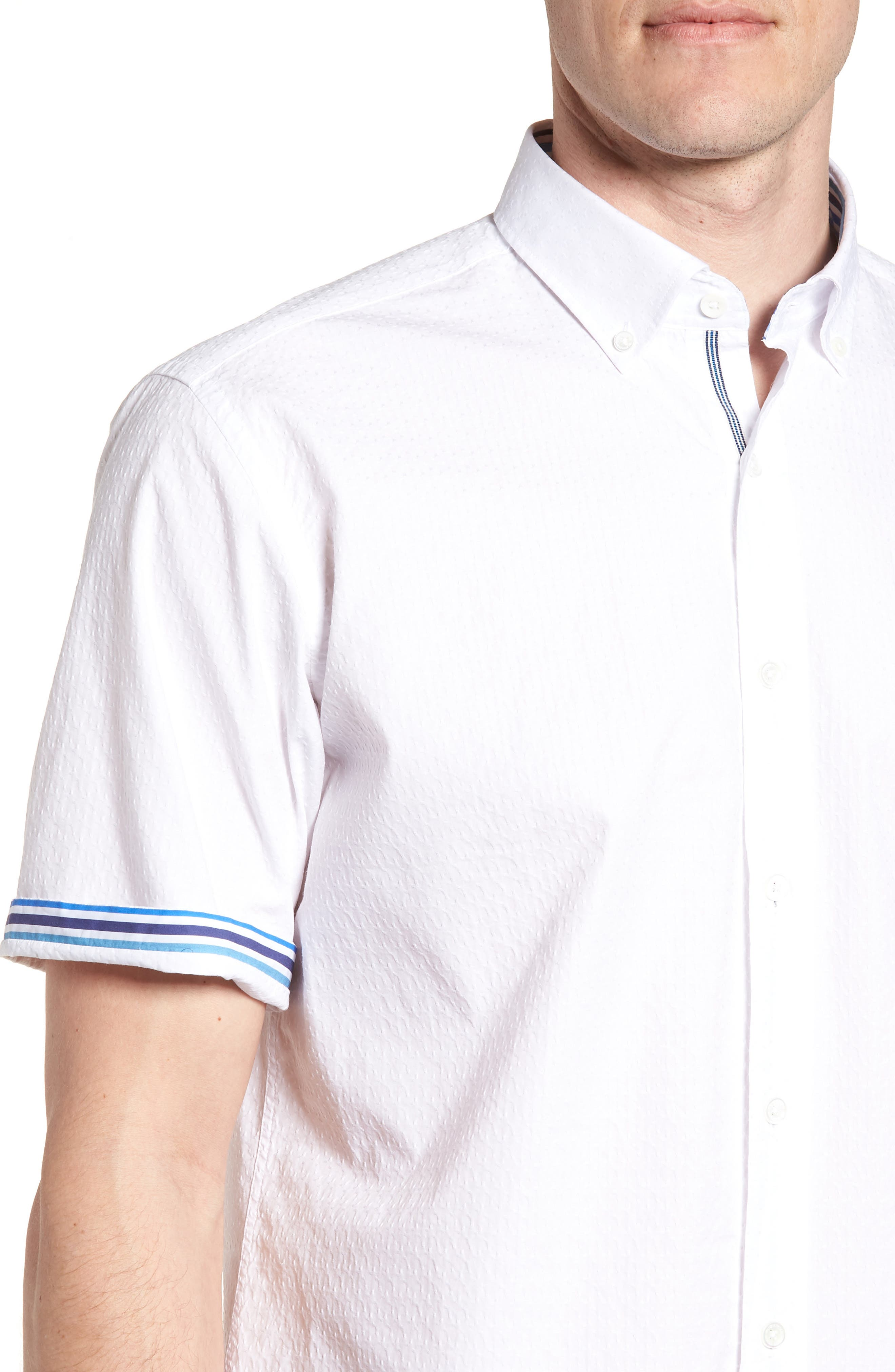 Classic Fit Textured Sport Shirt,                             Alternate thumbnail 4, color,                             White