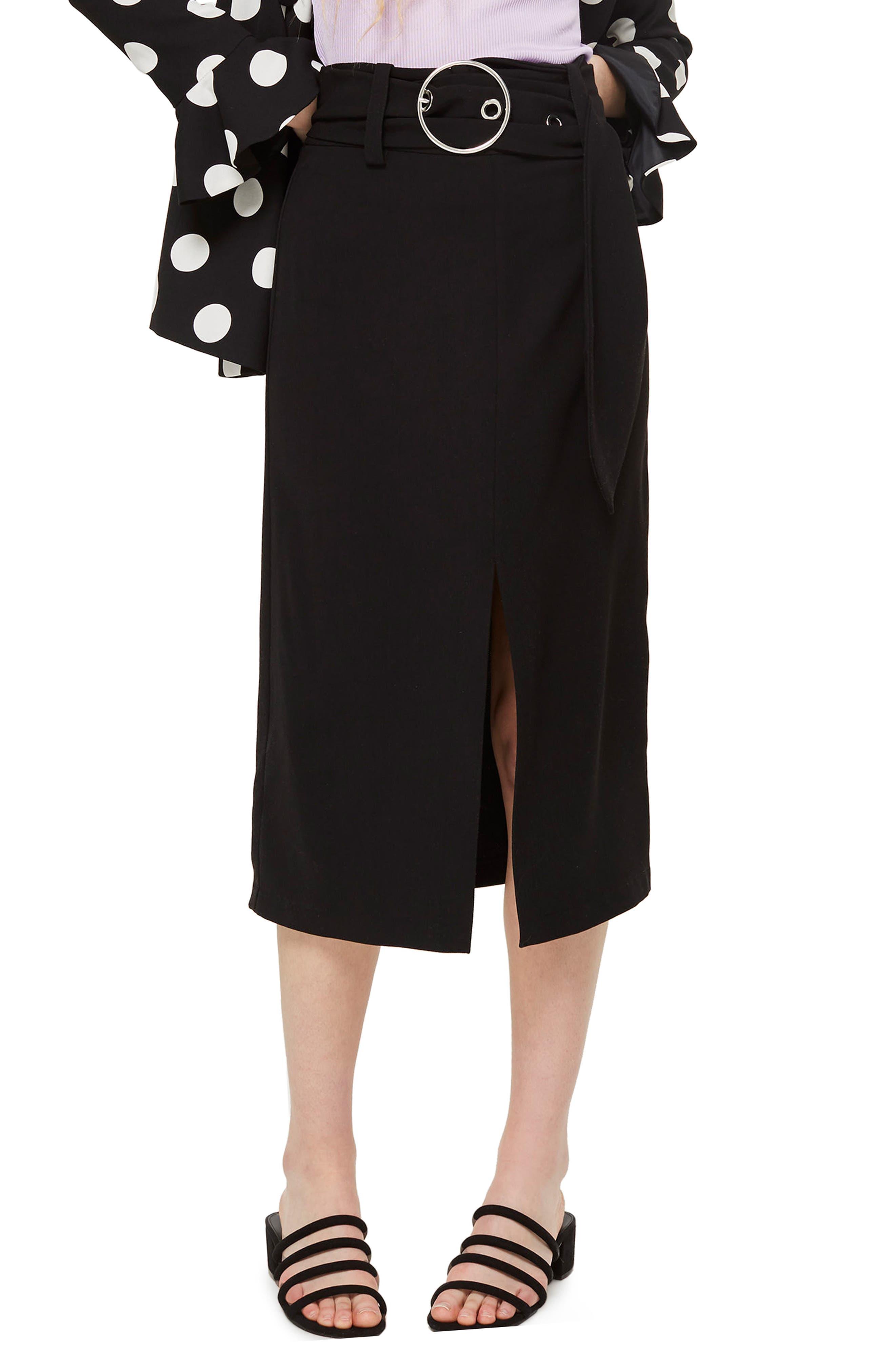 Ring Buckle Midi Skirt,                             Main thumbnail 1, color,                             Black Multi
