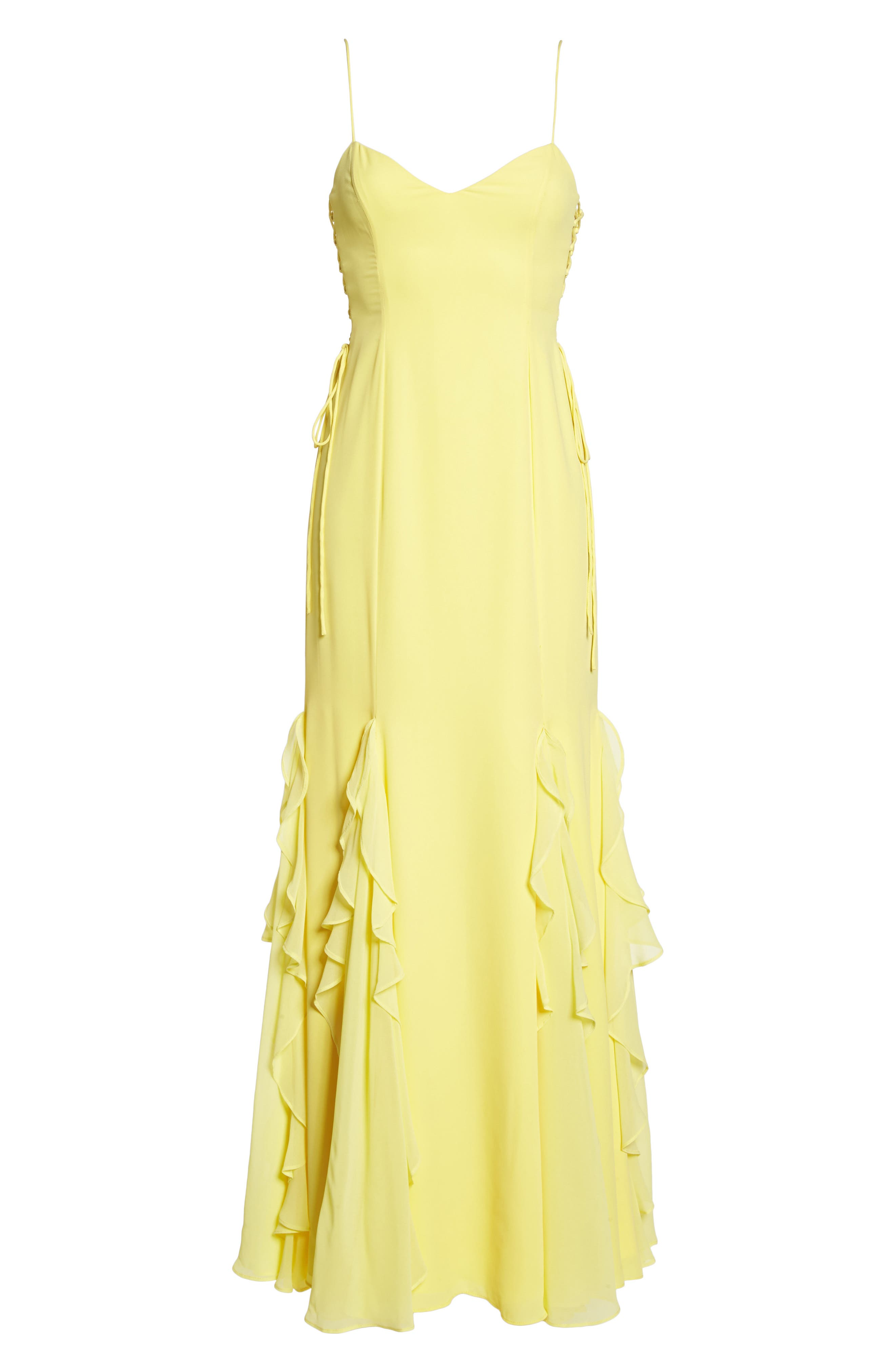 Lara Lace-Up Georgette Gown,                             Alternate thumbnail 7, color,                             Lemon
