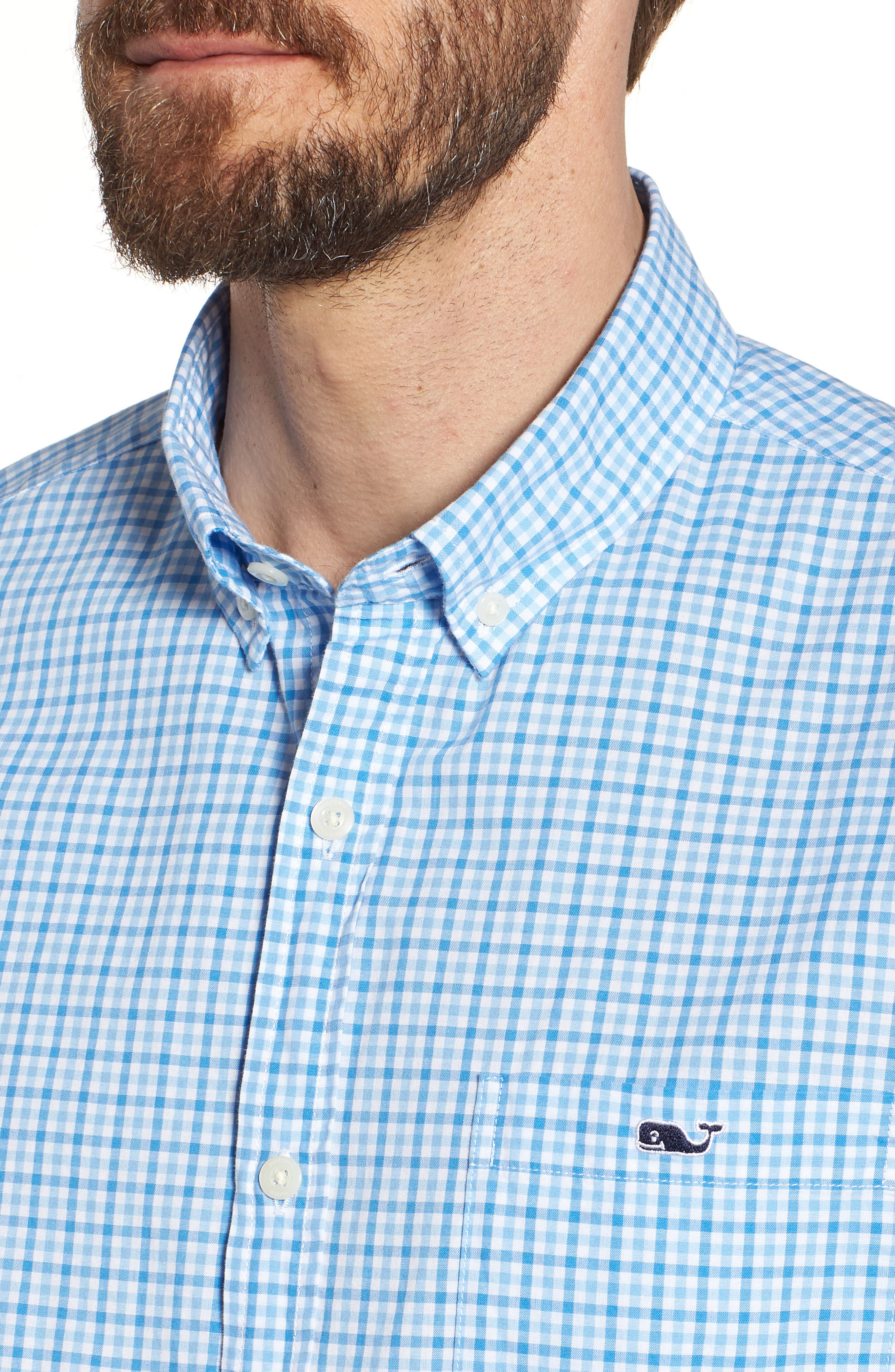 Tipsy Turtle Check Slim Fit Sport Shirt,                             Alternate thumbnail 4, color,                             Harbor Cay