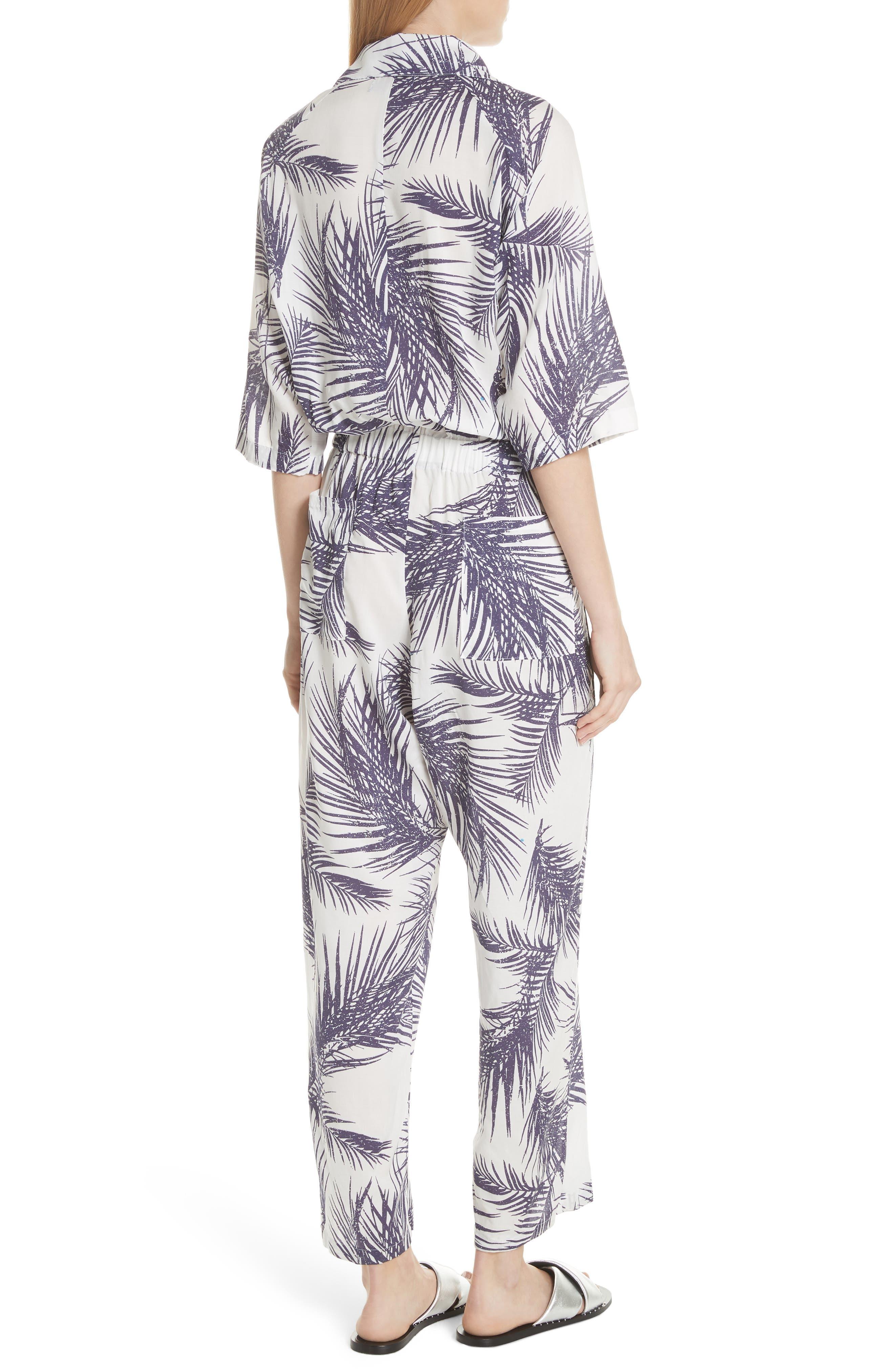 Apres Beach Print Jumpsuit,                             Alternate thumbnail 2, color,                             White/ Dark Purple