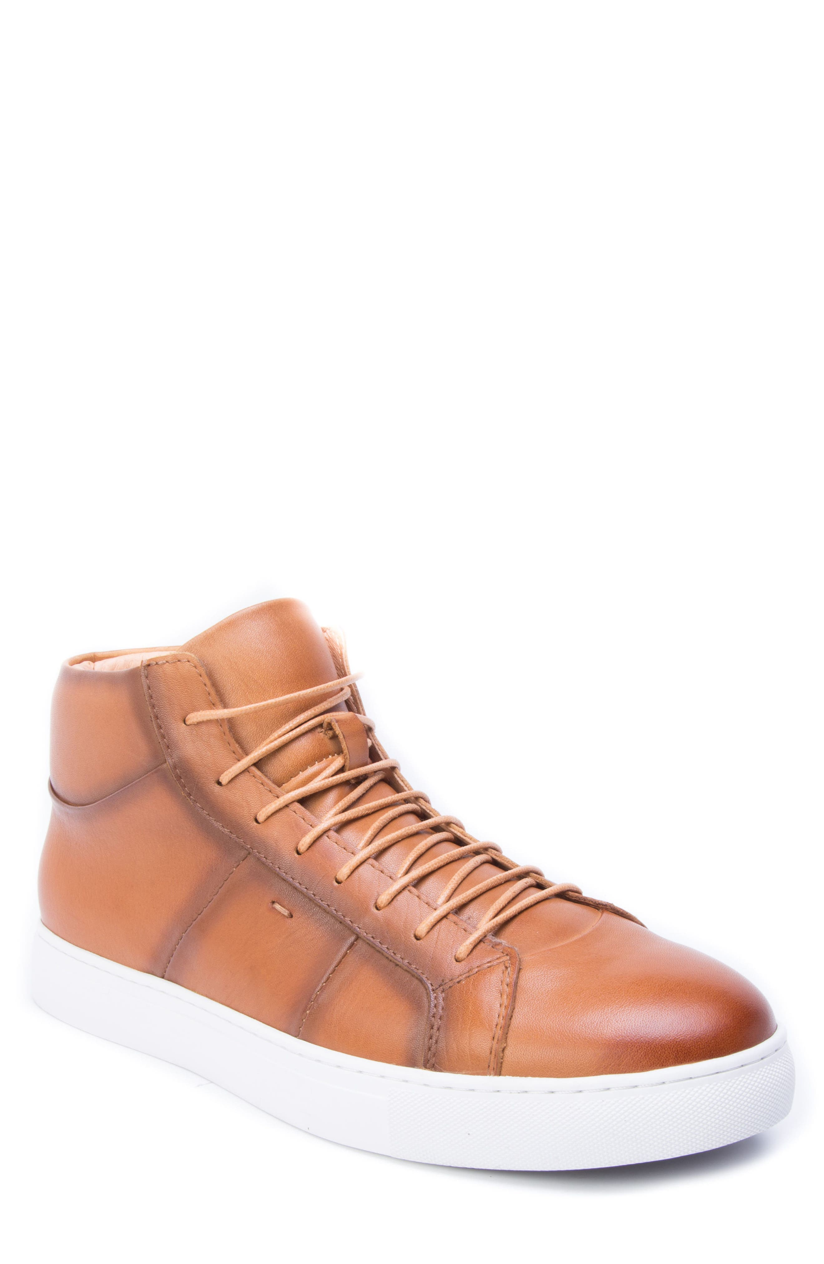 Phaser High Top Sneaker,                             Main thumbnail 1, color,                             Cognac Leather