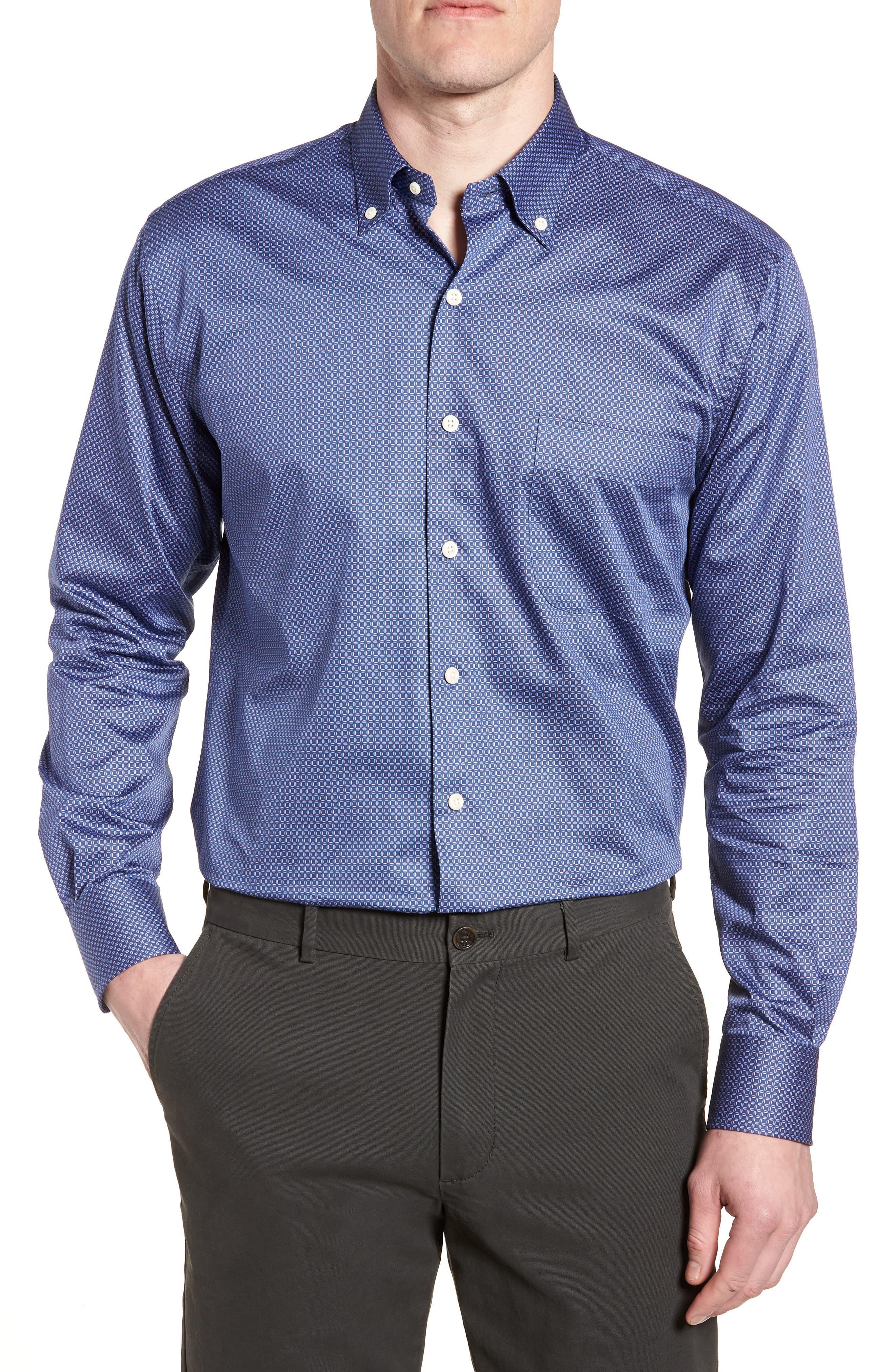 Dark Roast Print Sport Shirt,                             Main thumbnail 1, color,                             Yankee Blue