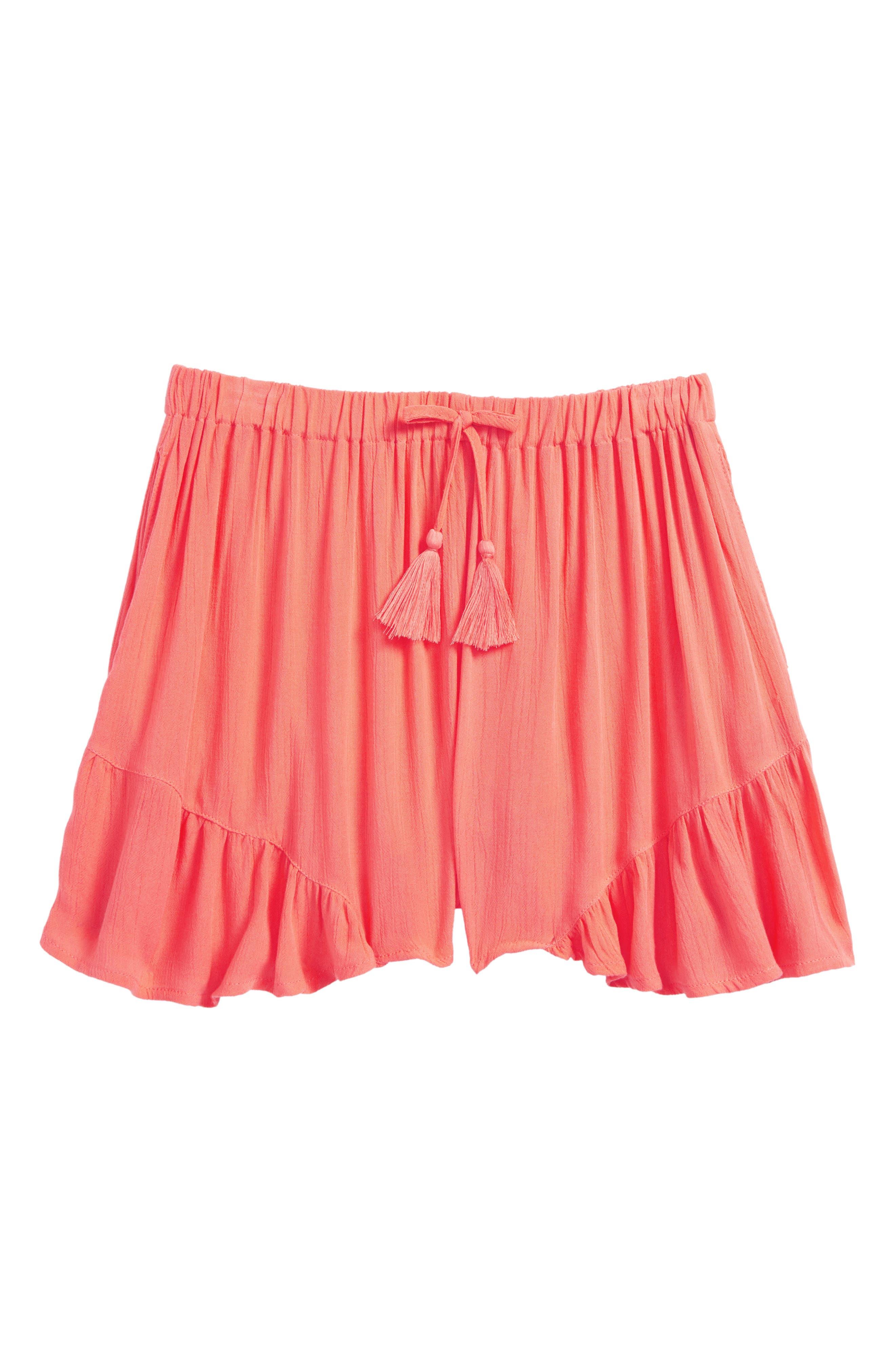 Ruffle Hem Shorts,                             Main thumbnail 1, color,                             Coral