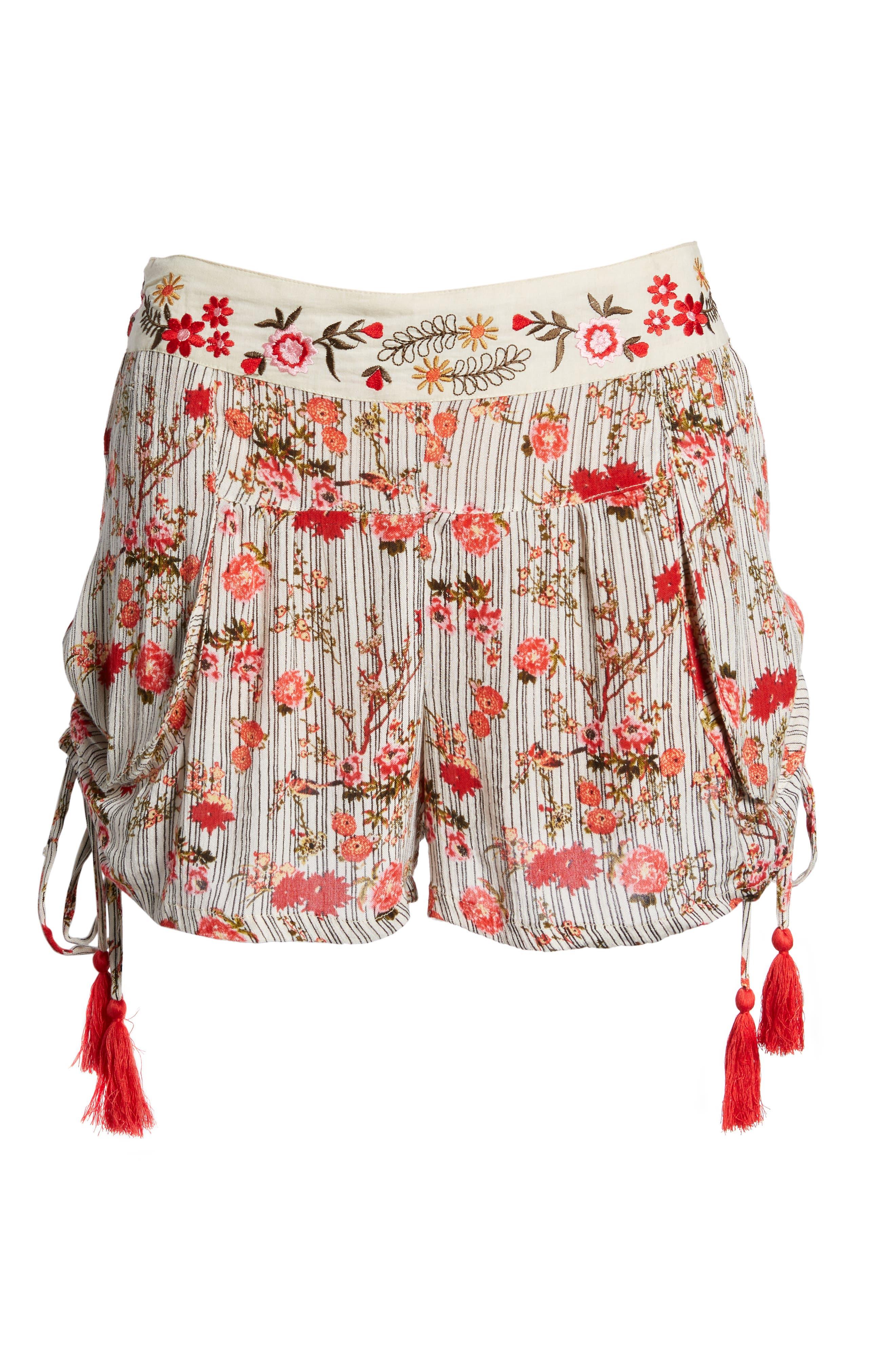 Primrose Floral Print Shorts,                             Alternate thumbnail 8, color,                             Multi