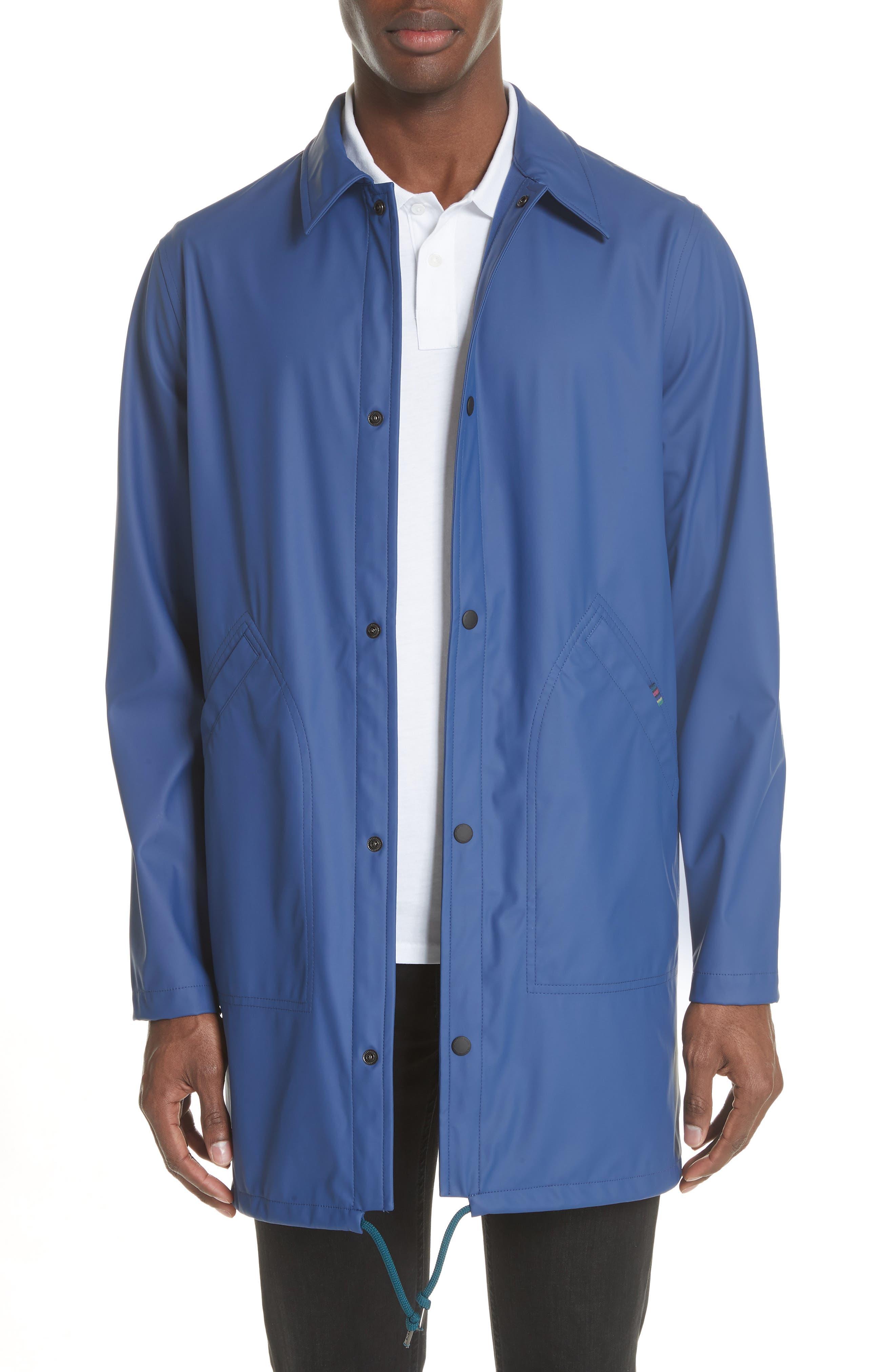 Rubberized Long Coach's Jacket,                         Main,                         color, Navy