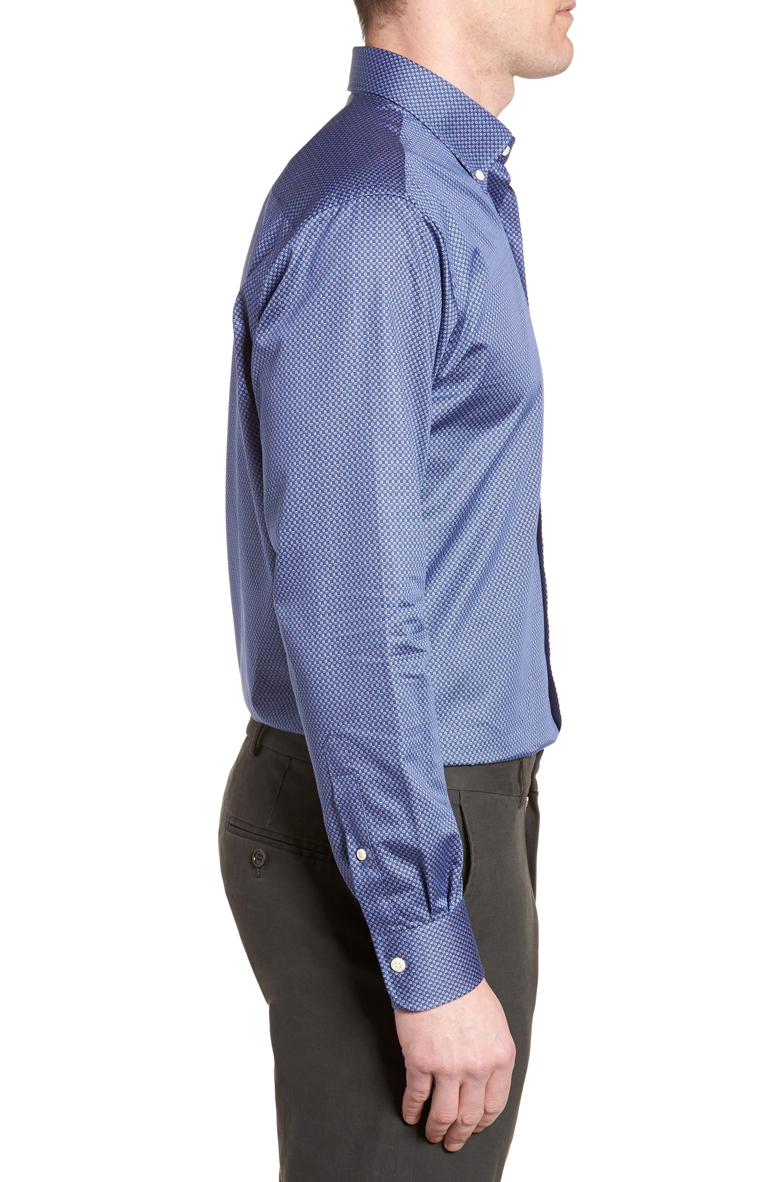 Dark Roast Print Sport Shirt,                             Alternate thumbnail 3, color,                             Yankee Blue