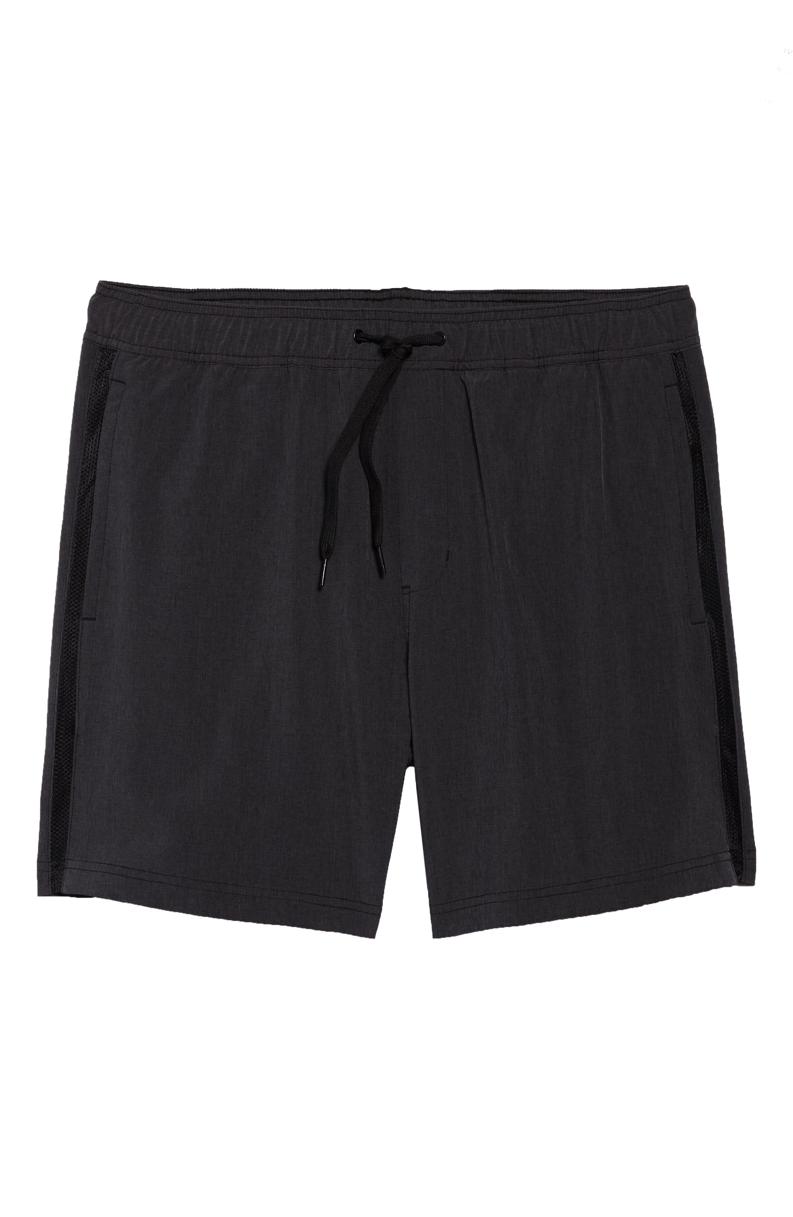 Stretch Swim Trunks,                             Alternate thumbnail 6, color,                             Black Oxide Heather
