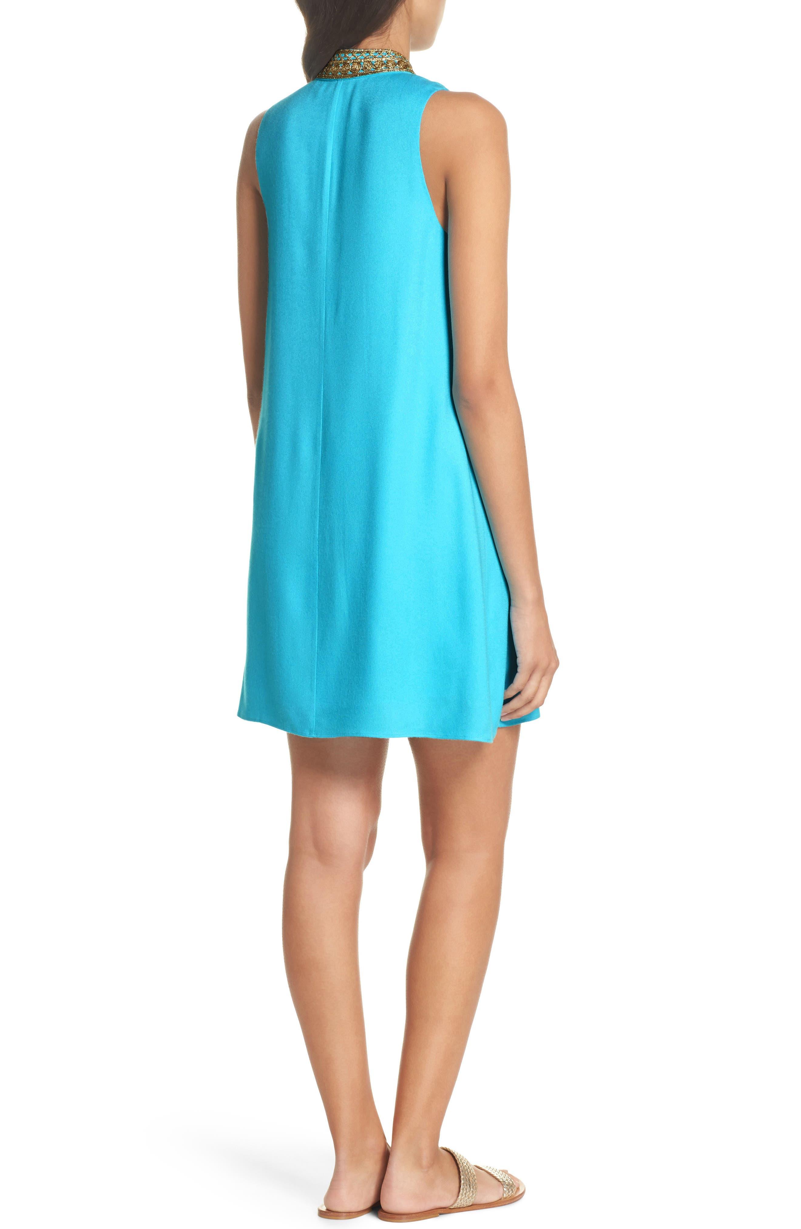 Jane Embroidered Shift Dress,                             Alternate thumbnail 2, color,                             Blue Ibiza