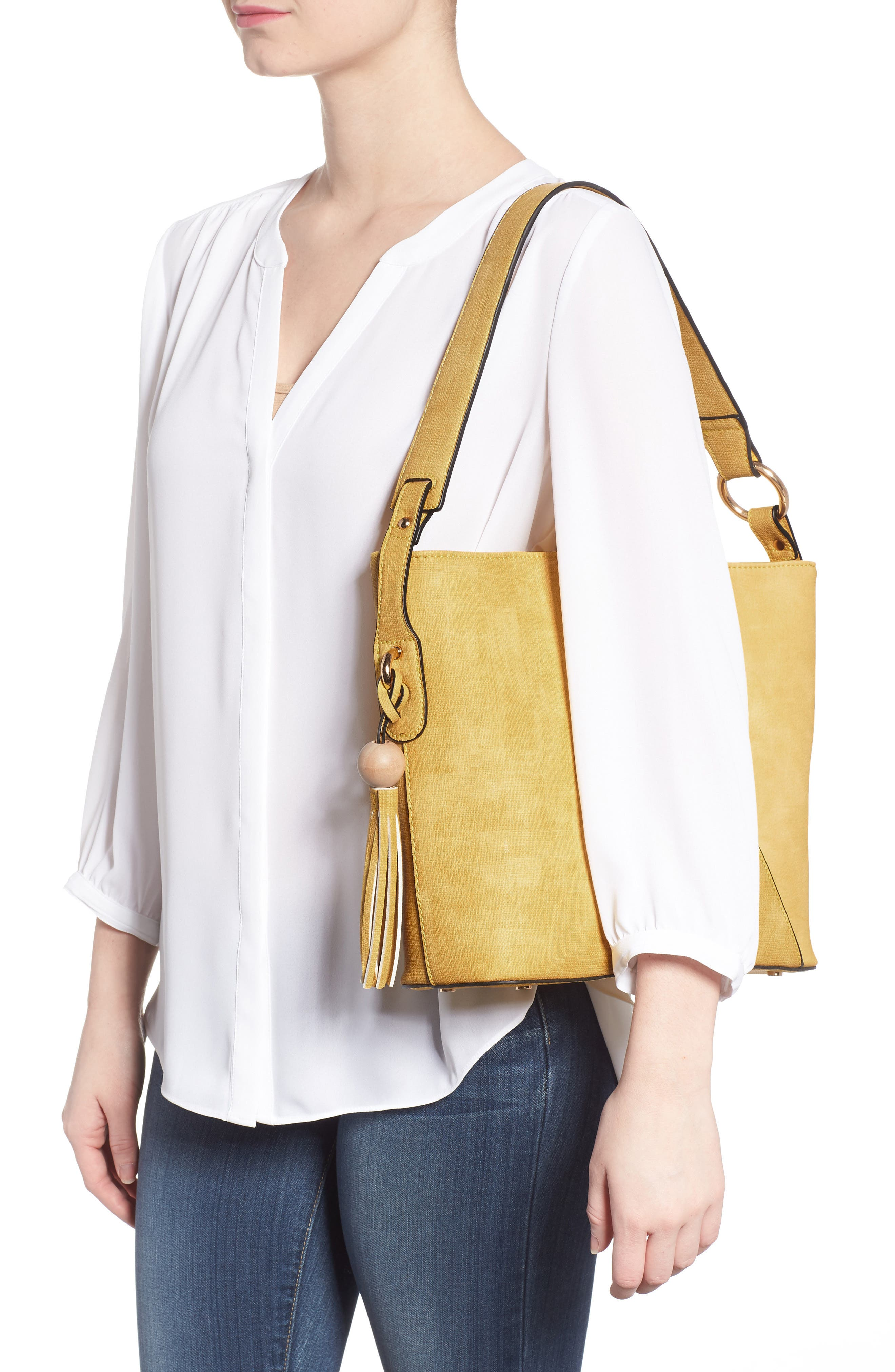 Faux Leather Tote,                             Alternate thumbnail 2, color,                             Yellow