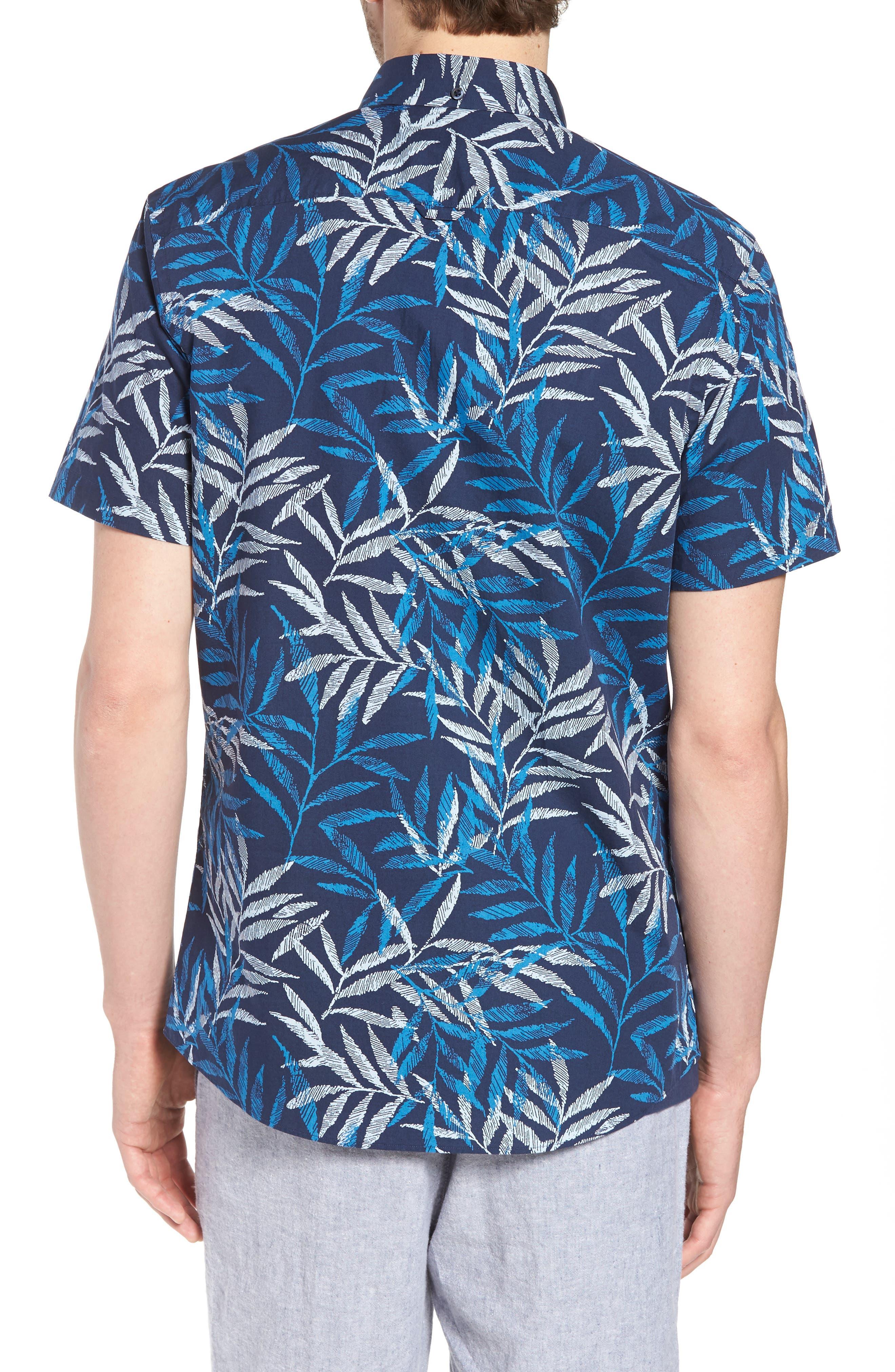 Trim Fit Print Short Sleeve Sport Shirt,                             Alternate thumbnail 2, color,                             Blue Dark Etched Leaves