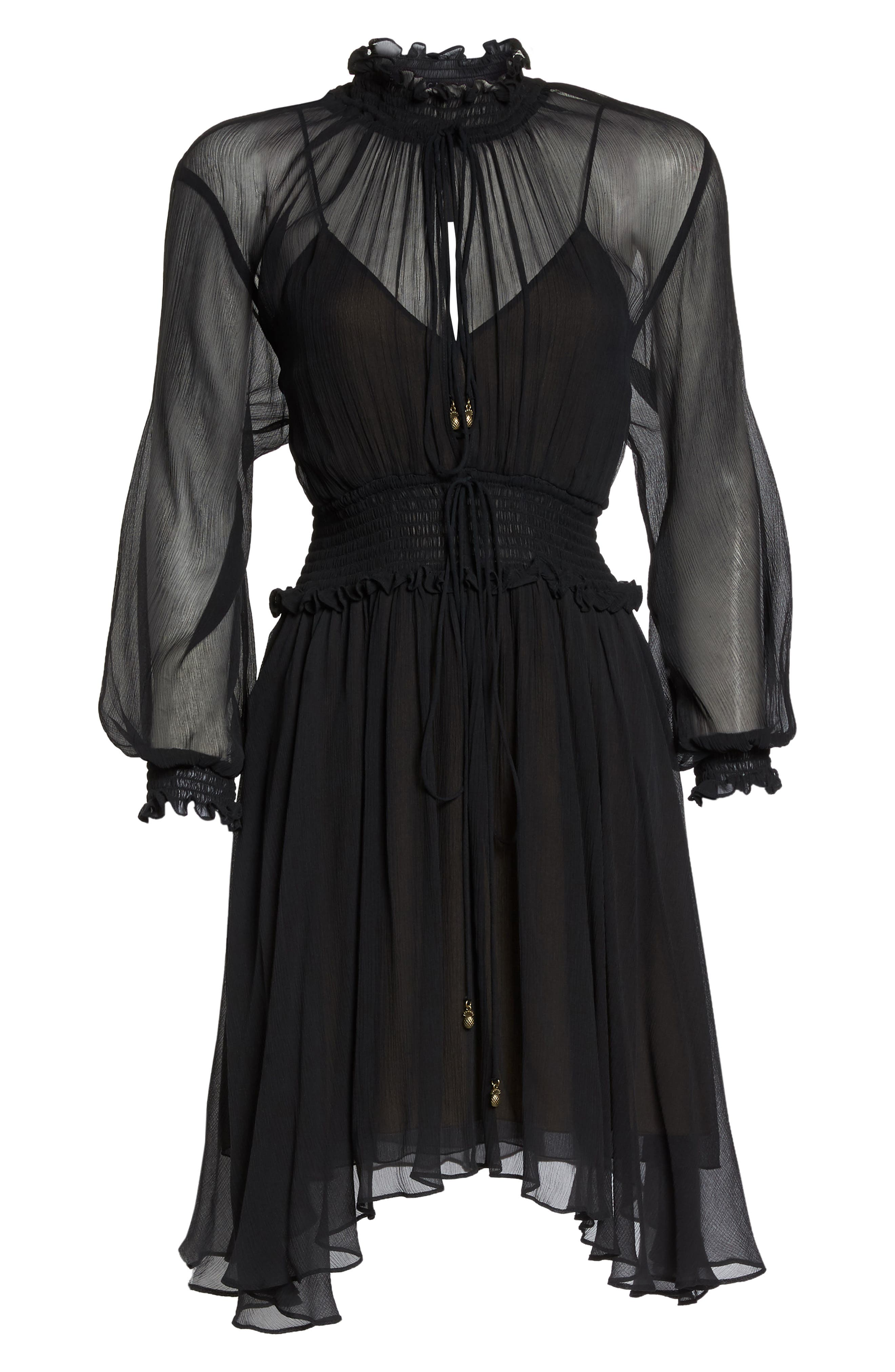 Classic Smocked Chiffon Dress,                             Alternate thumbnail 7, color,                             Black