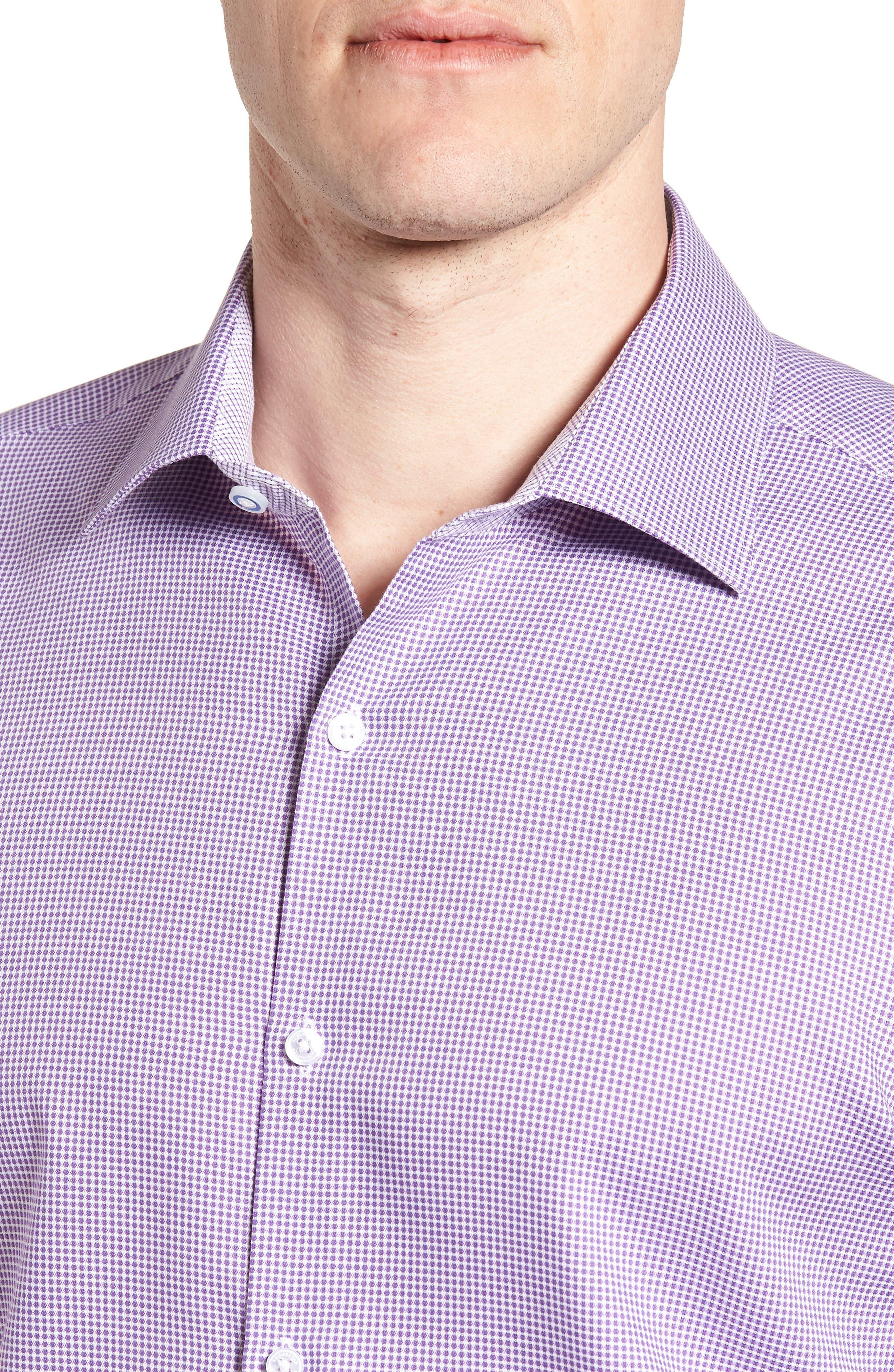 Hayden Trim Fit Check Dress Shirt,                             Alternate thumbnail 2, color,                             Purple