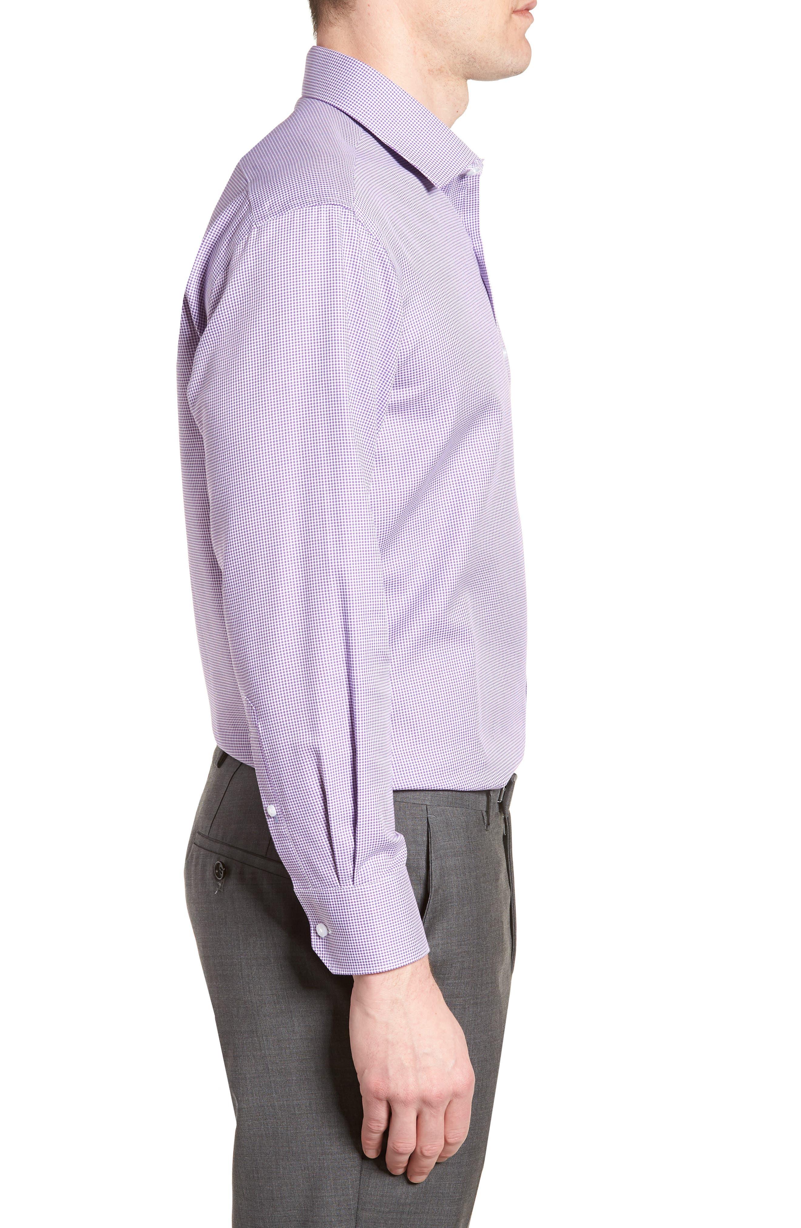 Hayden Trim Fit Check Dress Shirt,                             Alternate thumbnail 4, color,                             Purple