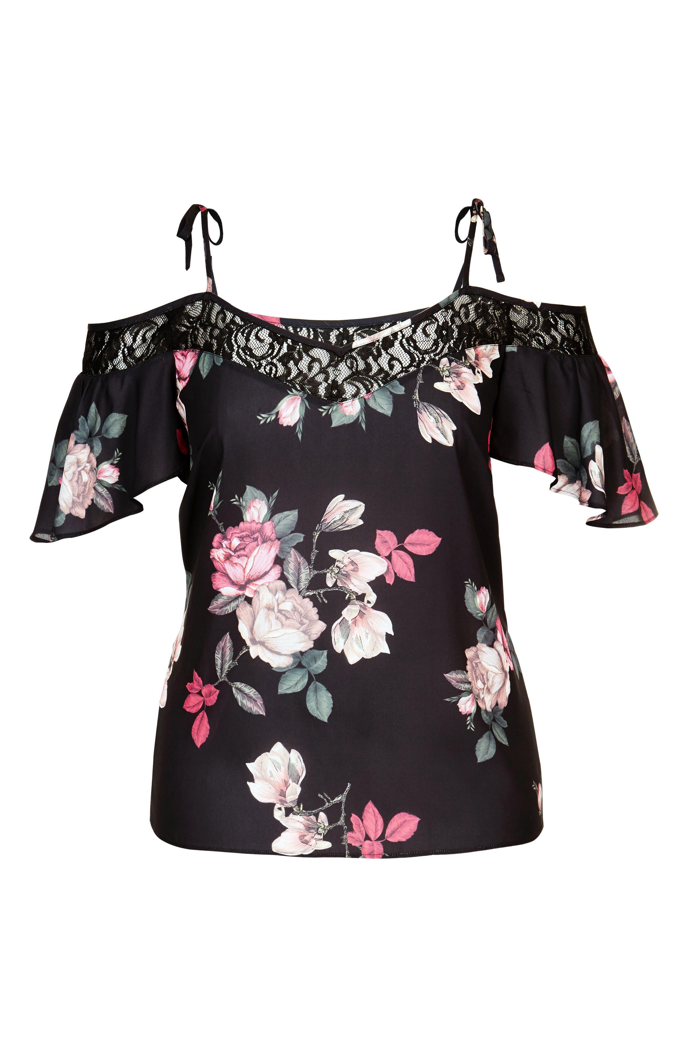 Lace Trim Floral Off the Shoulder Top,                             Alternate thumbnail 3, color,                             Mirror Rose