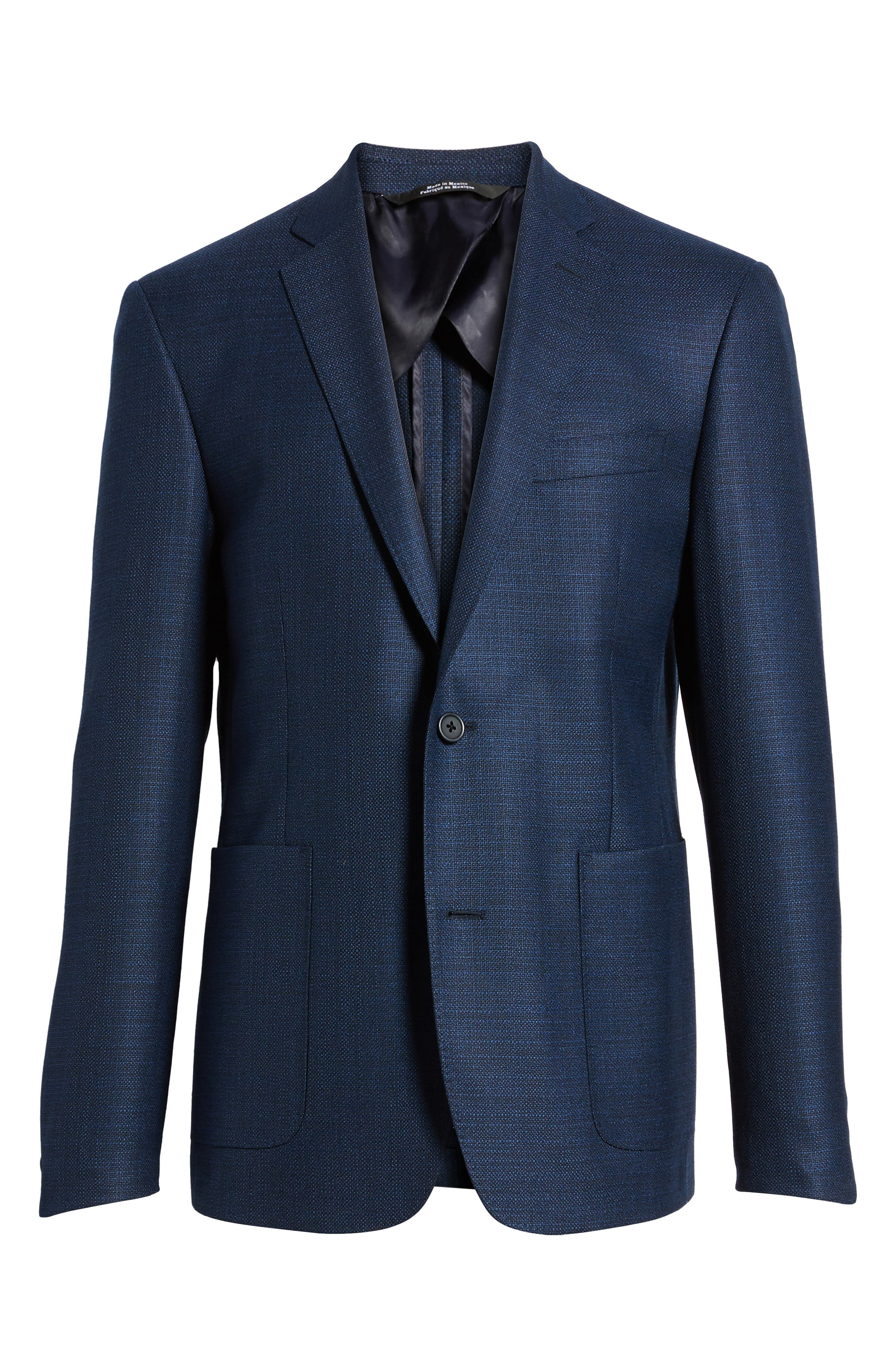 Trim Fit Wool Blazer,                             Alternate thumbnail 6, color,                             Navy