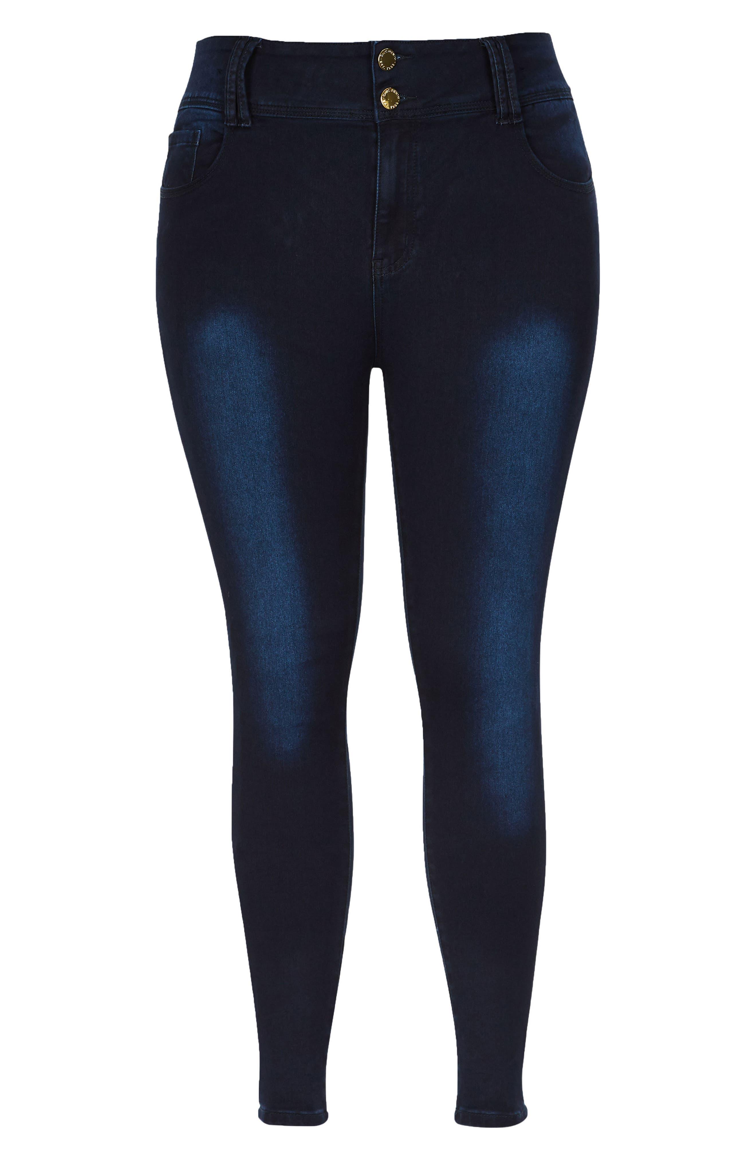 Asha Ankle Skinny Jeans,                             Alternate thumbnail 3, color,                             Dark Denim