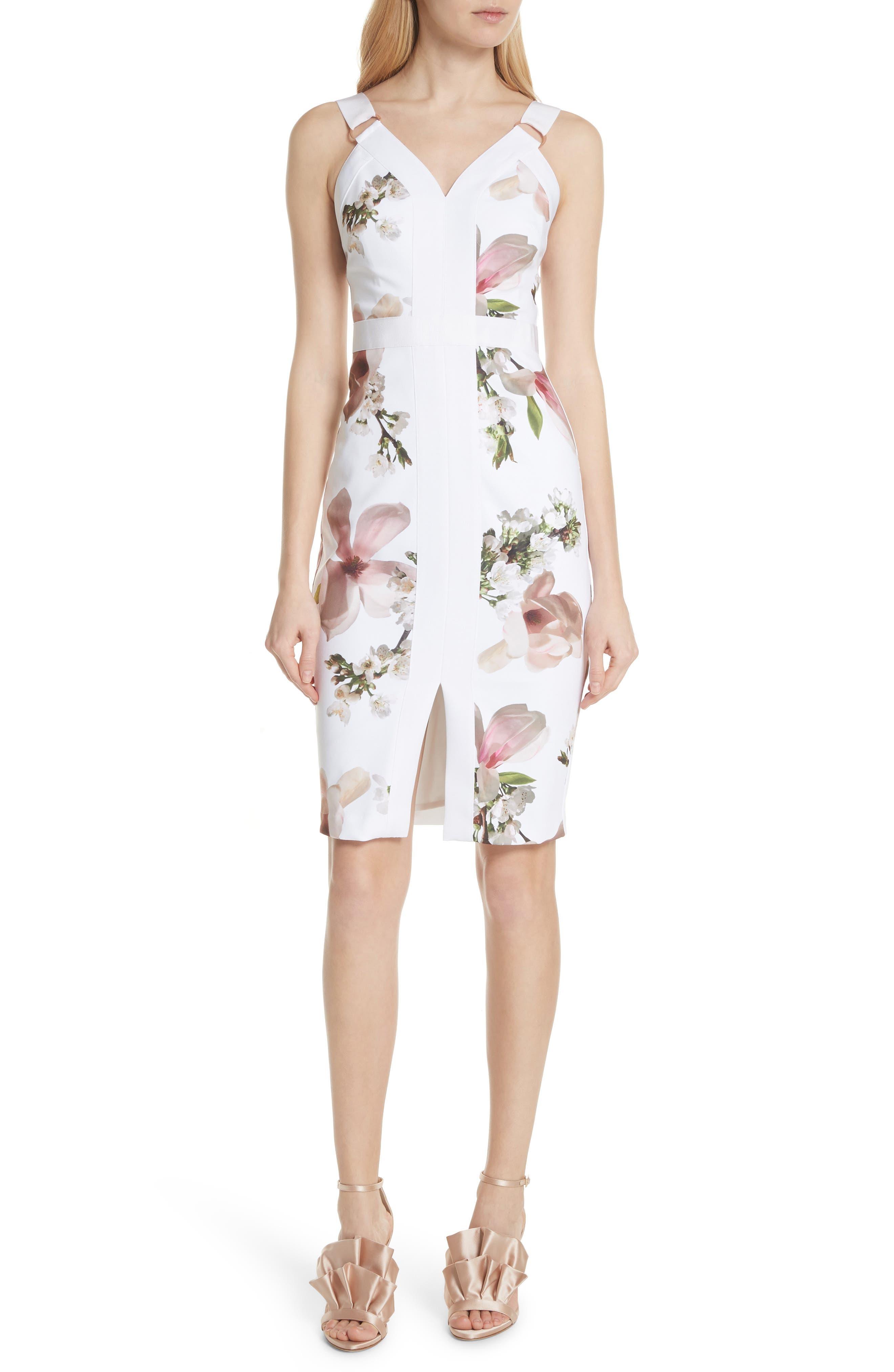 Harmony Floral Sheath Dress,                             Main thumbnail 1, color,                             White