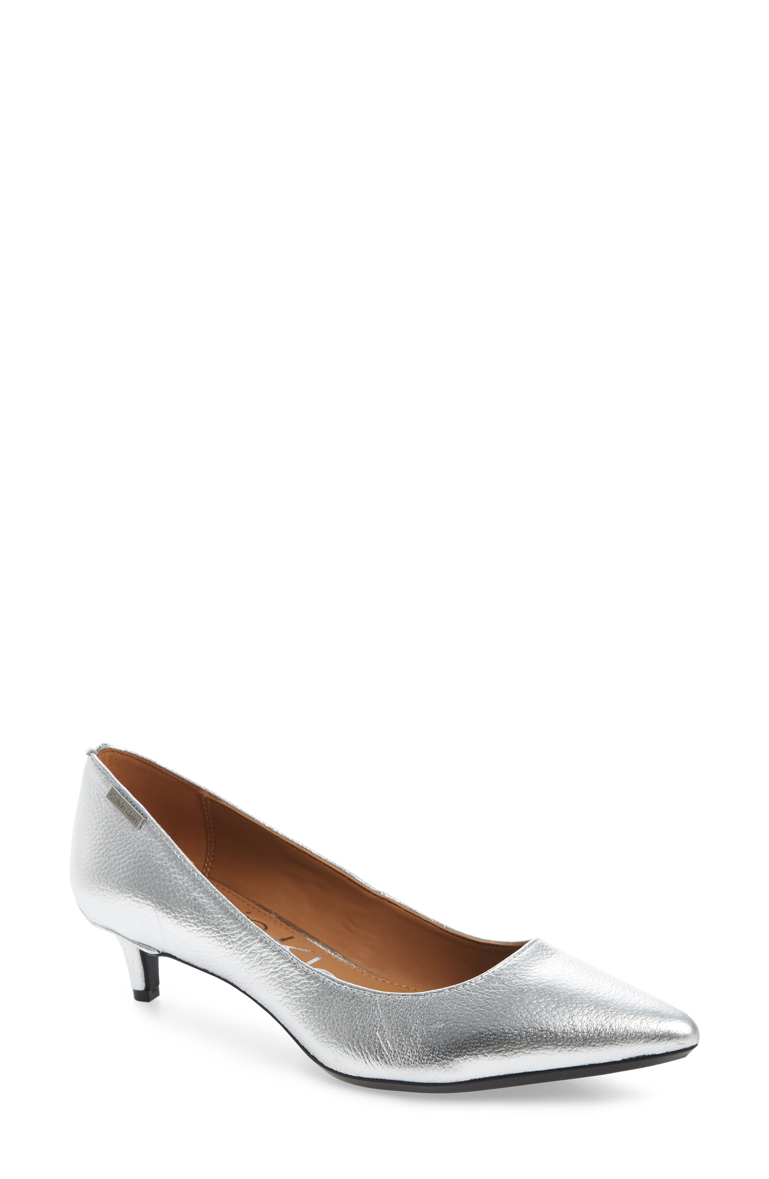 Gabrianna Pump,                         Main,                         color, Silver Leather
