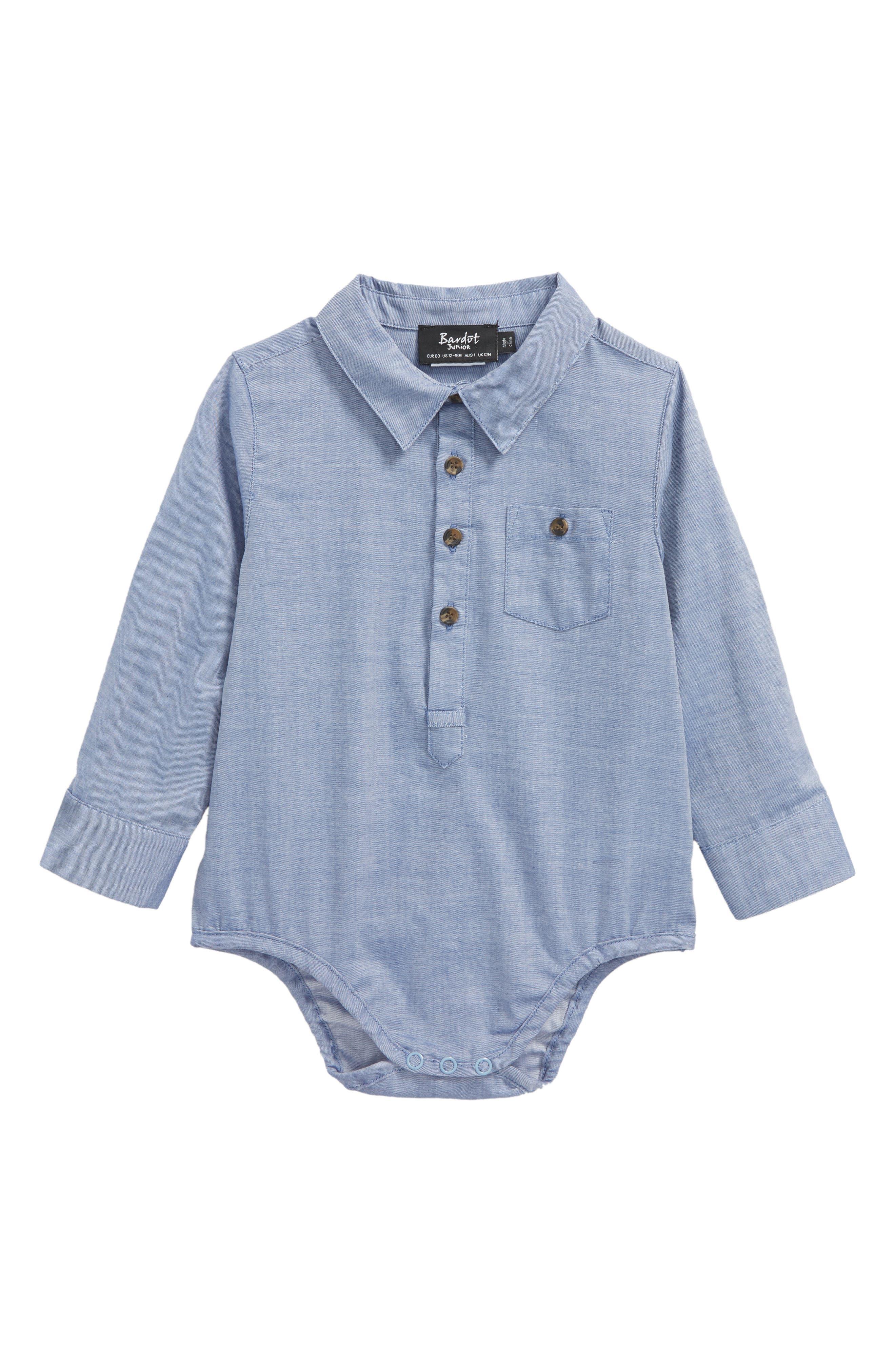 Alternate Image 1 Selected - Bardot Junior Grow Chambray Pocket Bodysuit (Baby Boys)