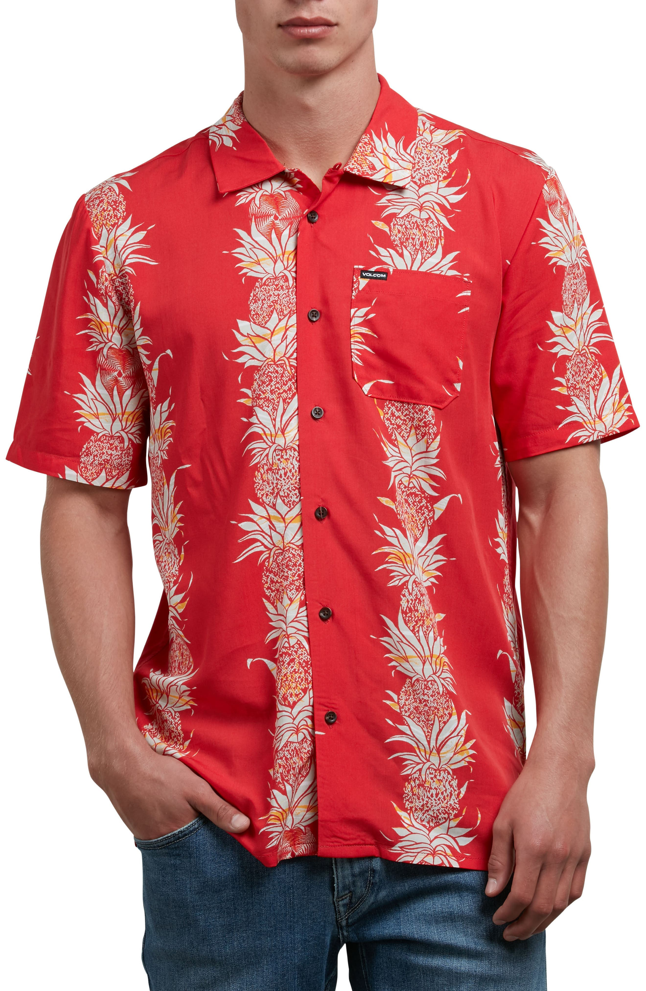 Palm Glitch Woven Shirt,                         Main,                         color, True Red