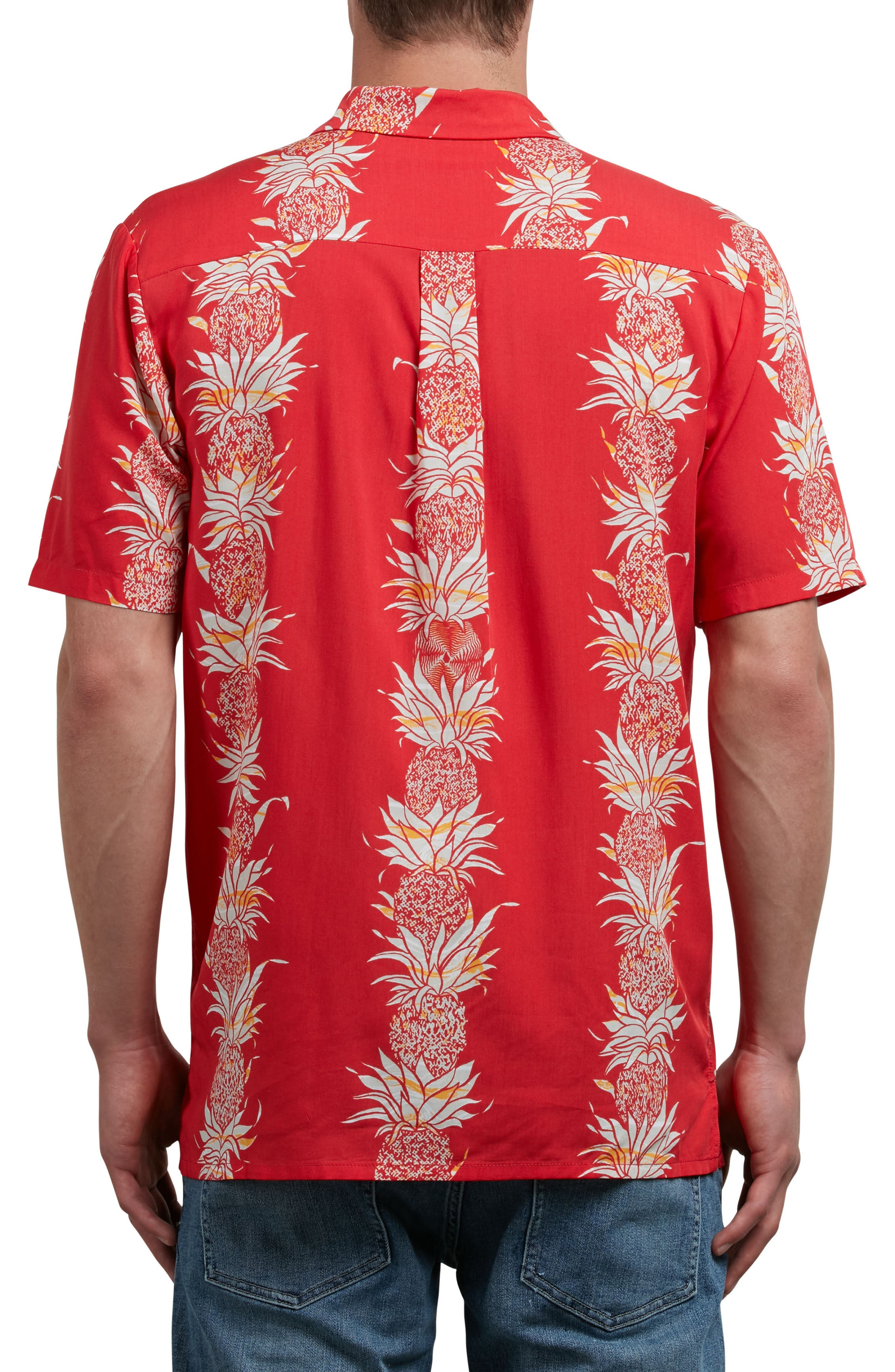 Palm Glitch Woven Shirt,                             Alternate thumbnail 2, color,                             True Red