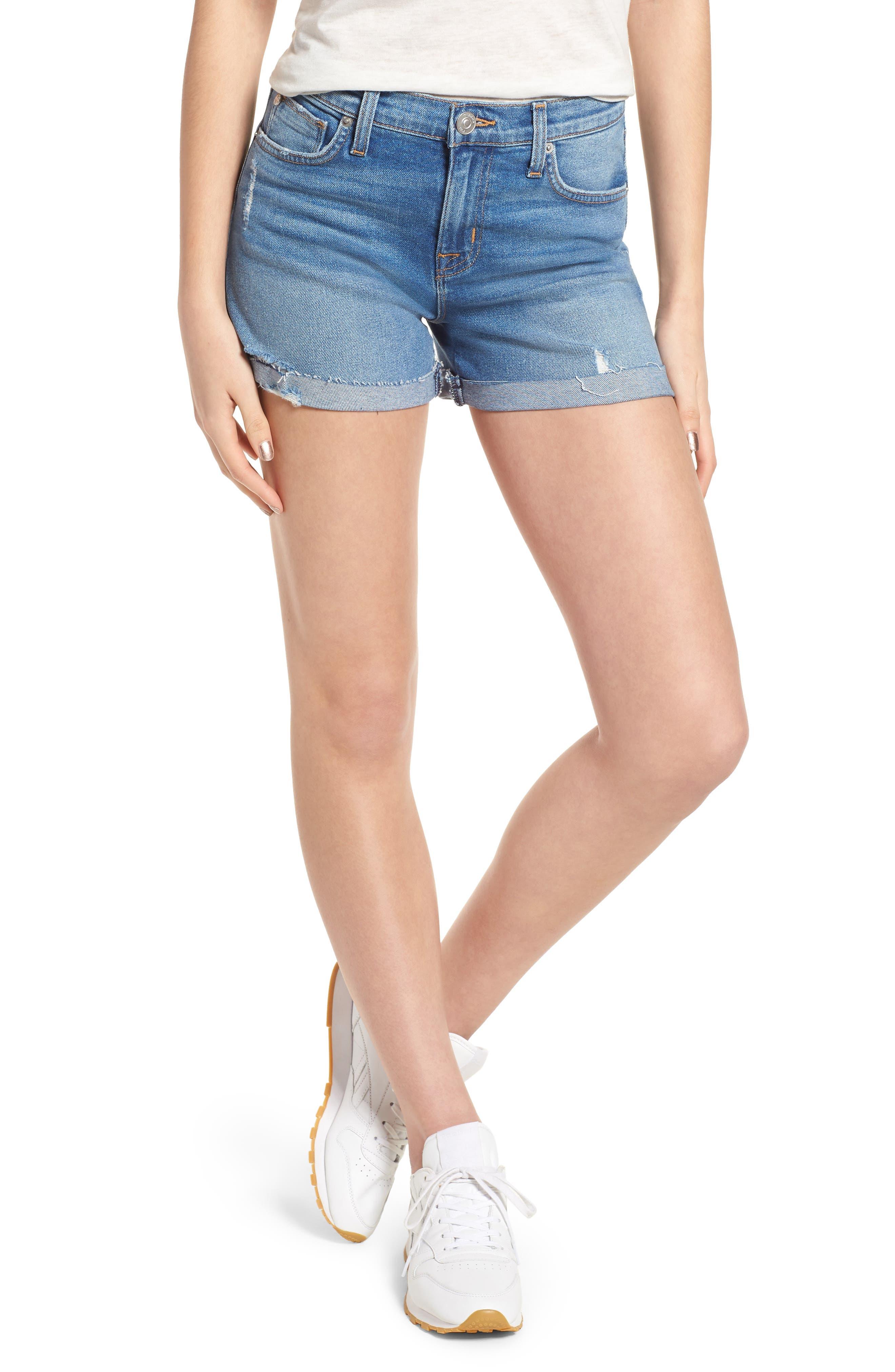 Valeri Cuff Denim Shorts,                         Main,                         color, Proxy