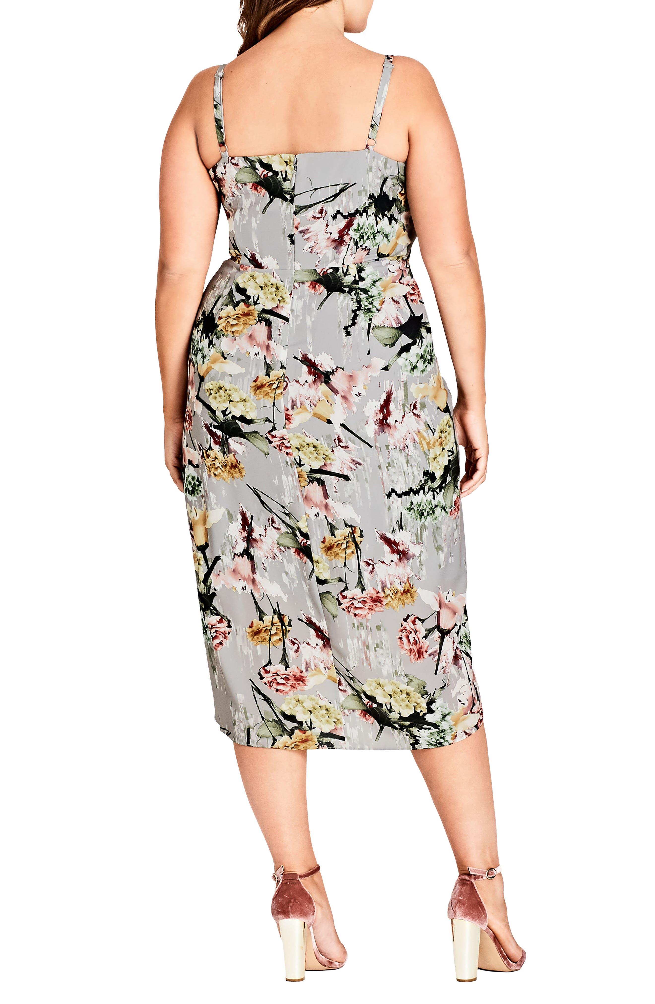 Alternate Image 2  - City Chic Romantic Bouquet Faux Wrap Dress (Plus Size)
