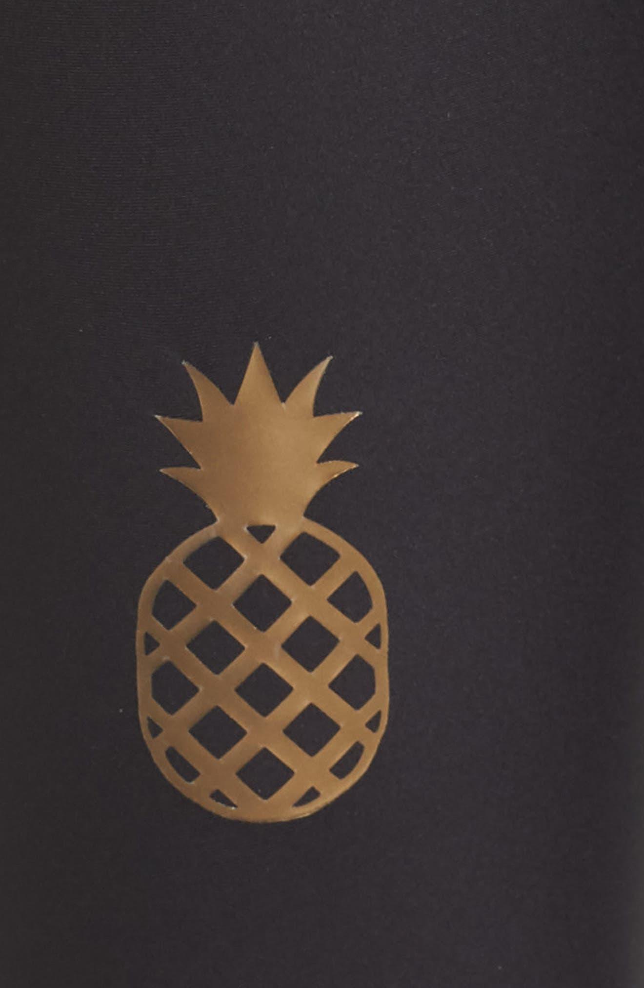 Ultra Pineapple Knockout Leggings,                             Alternate thumbnail 6, color,                             Nero/ Iridescent Gold