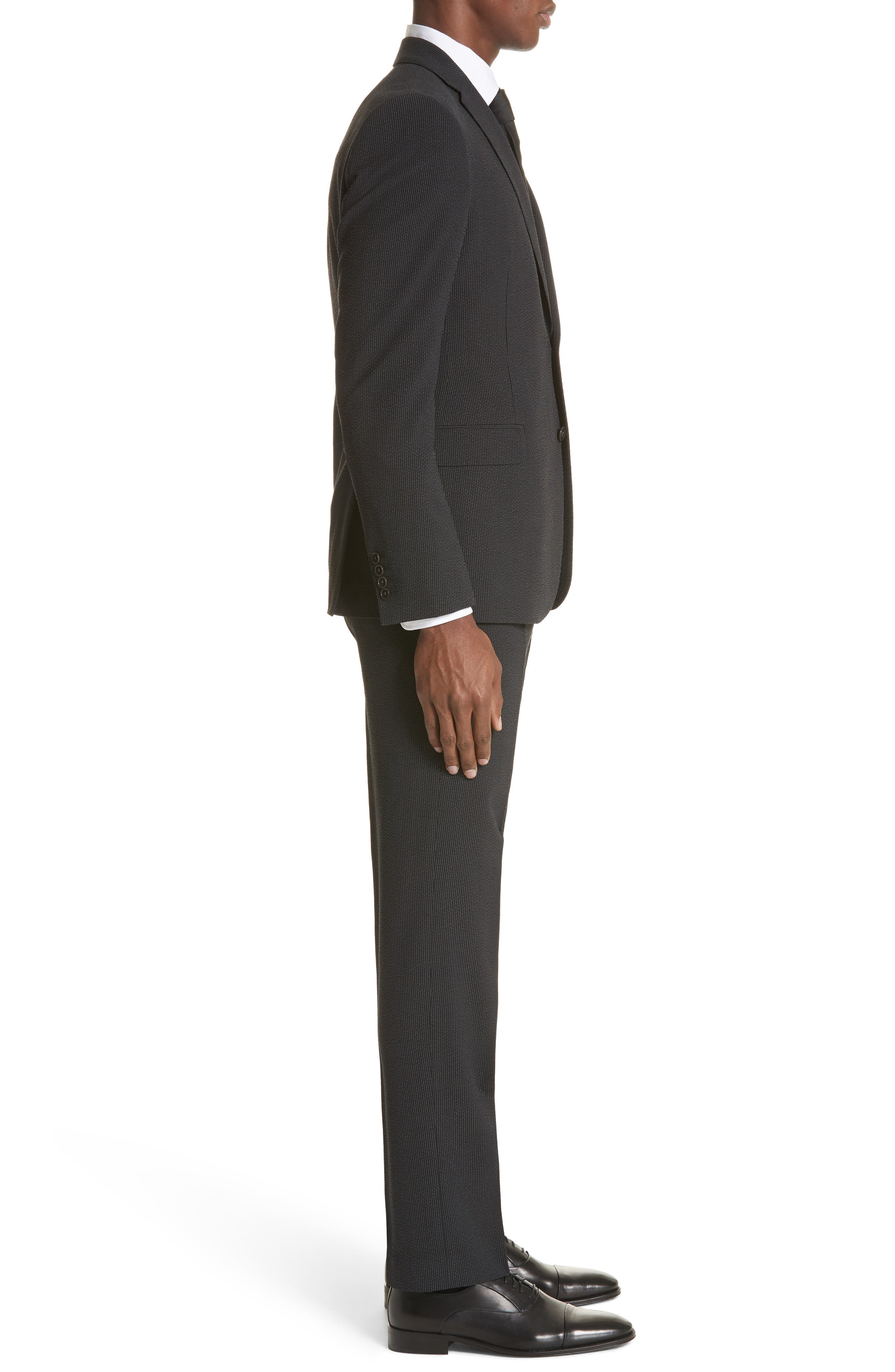 M Line Trim Fit Stretch Seersucker Wool Blend Suit,                             Alternate thumbnail 3, color,                             Grey