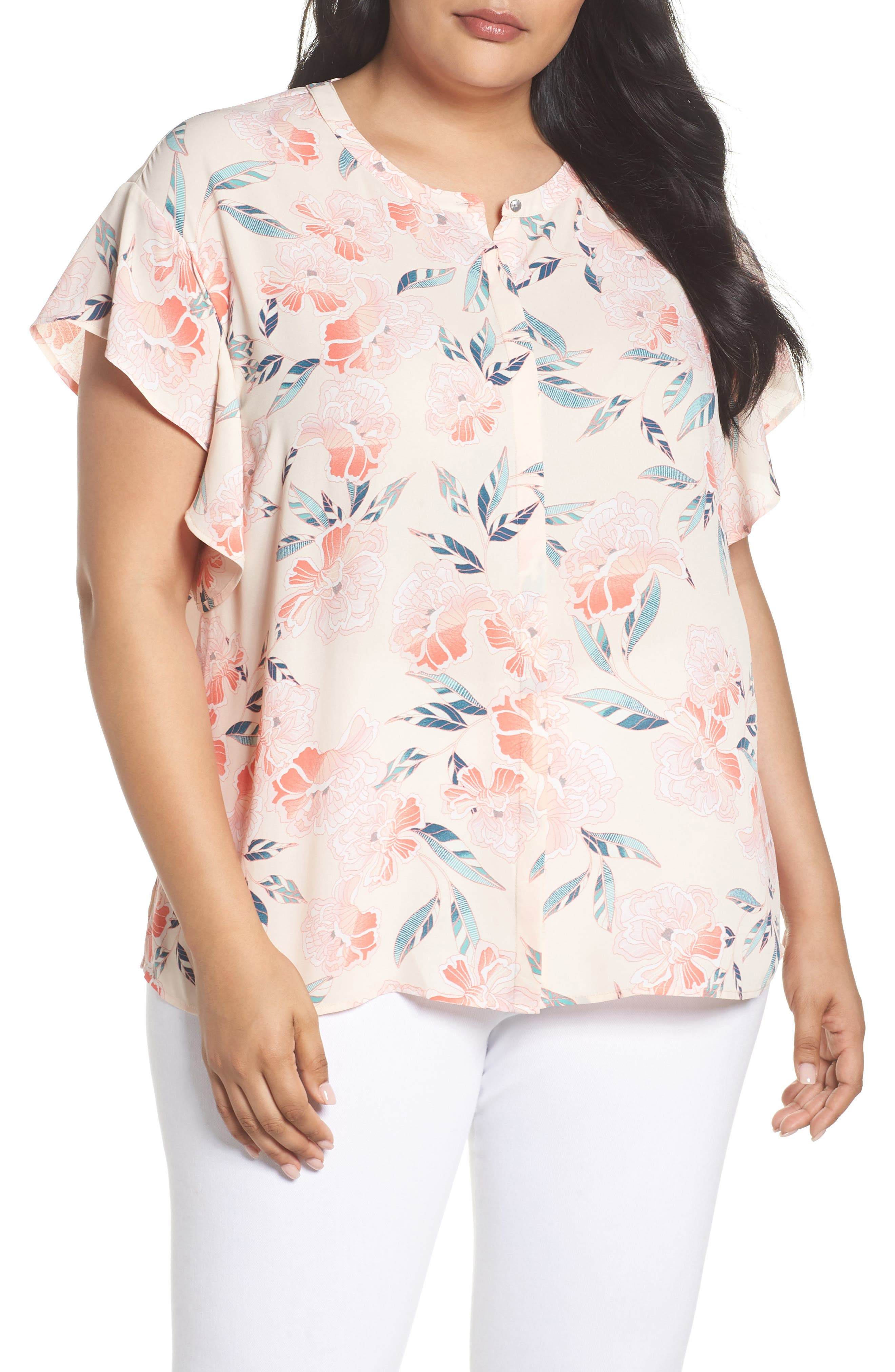 Flutter Sleeve Top,                             Main thumbnail 1, color,                             Pink Oriental Print