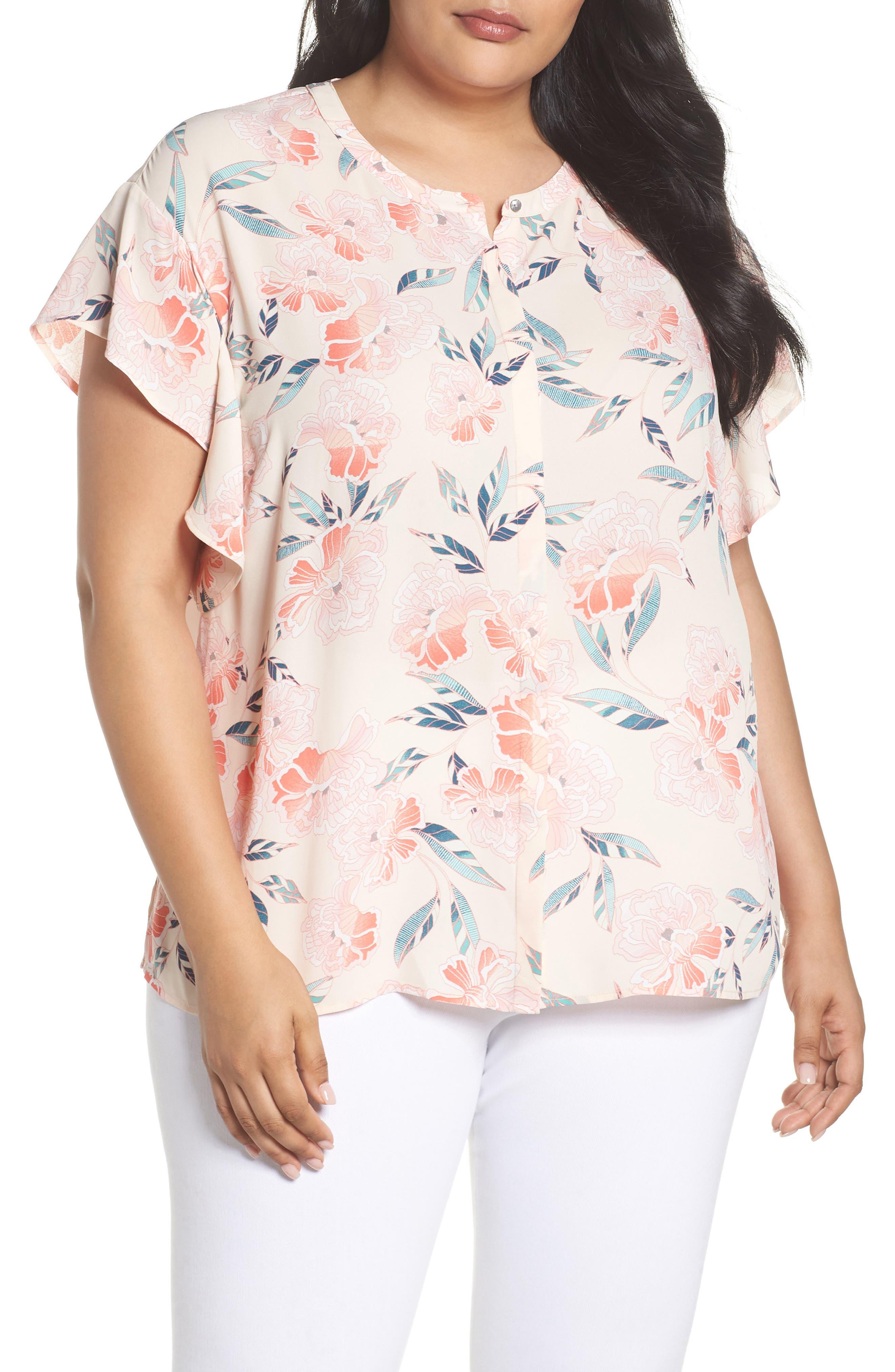 Sejour Flutter Sleeve Top (Plus Size)