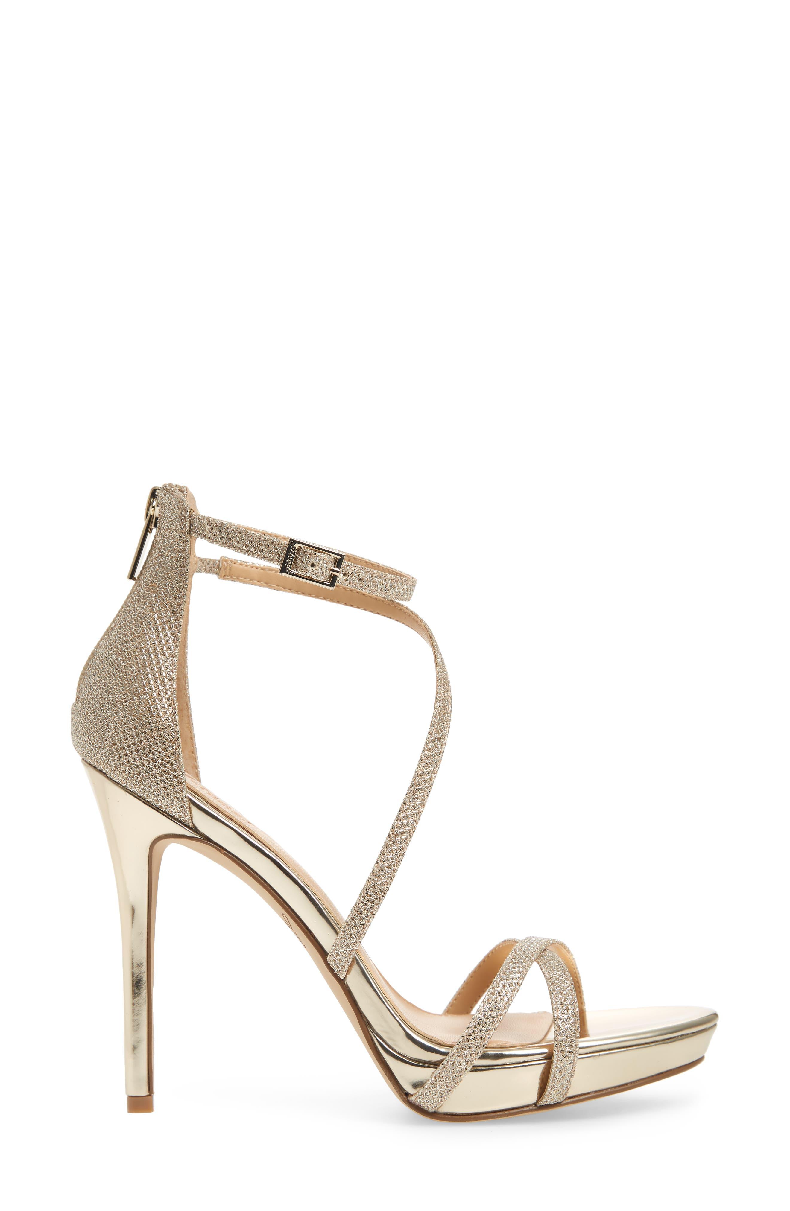 Galen Strappy Platform Sandal,                             Alternate thumbnail 3, color,                             Gold Glitter Fabric
