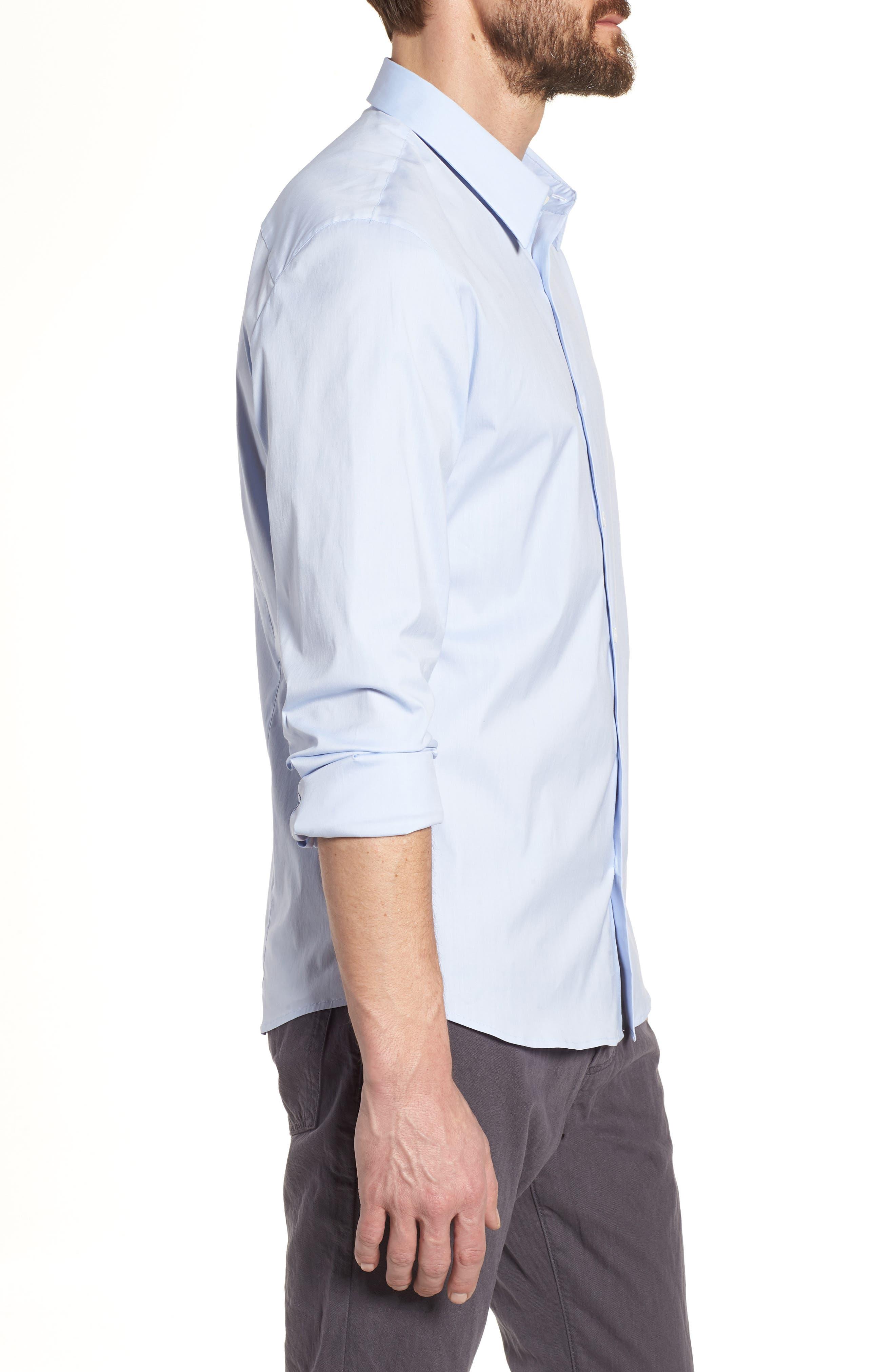 Matte Stretch Poplin Sport Shirt,                             Alternate thumbnail 3, color,                             Blue