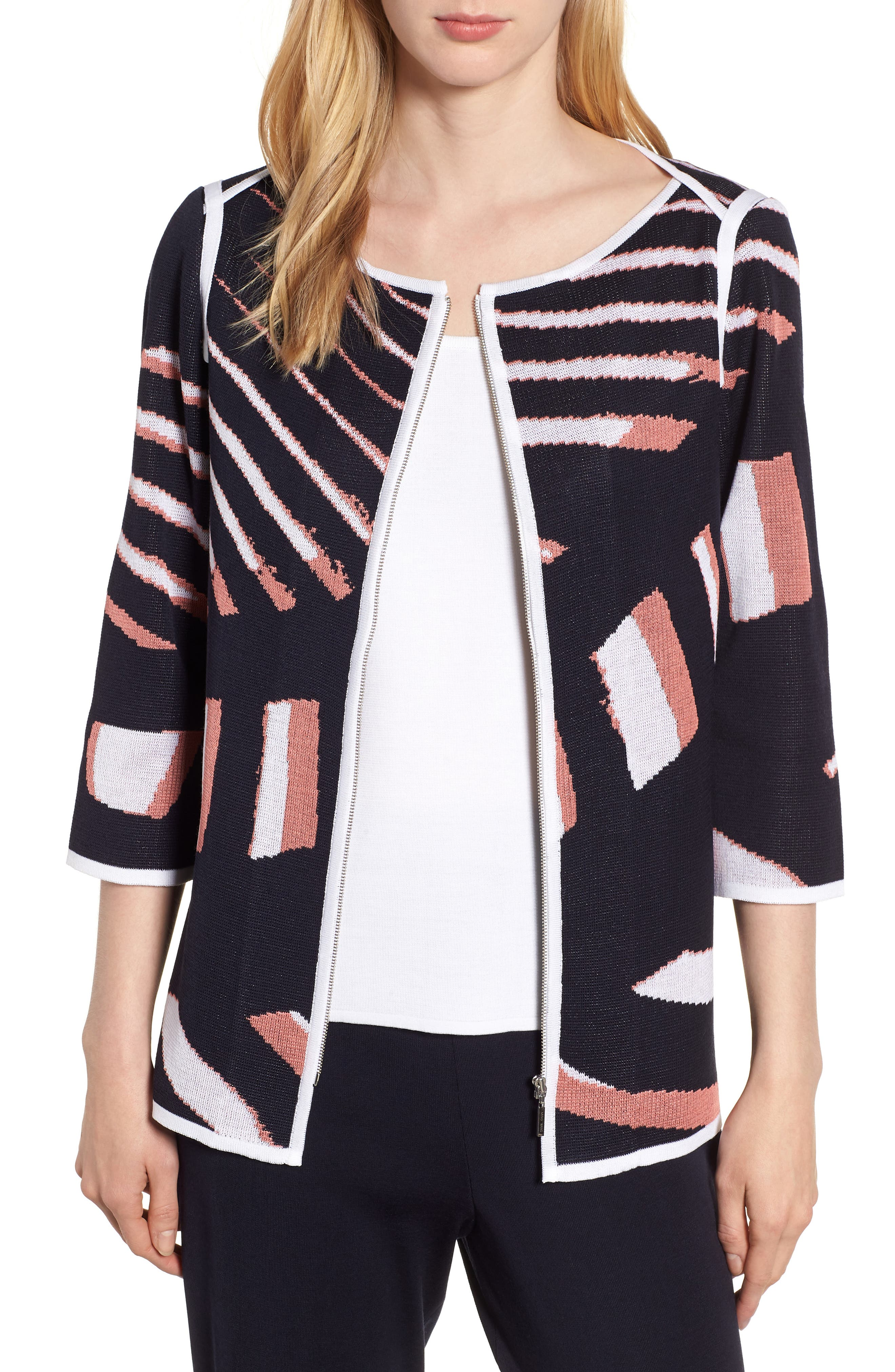 Zip Front Knit Jacket,                         Main,                         color, Navy/ Daylily/ White