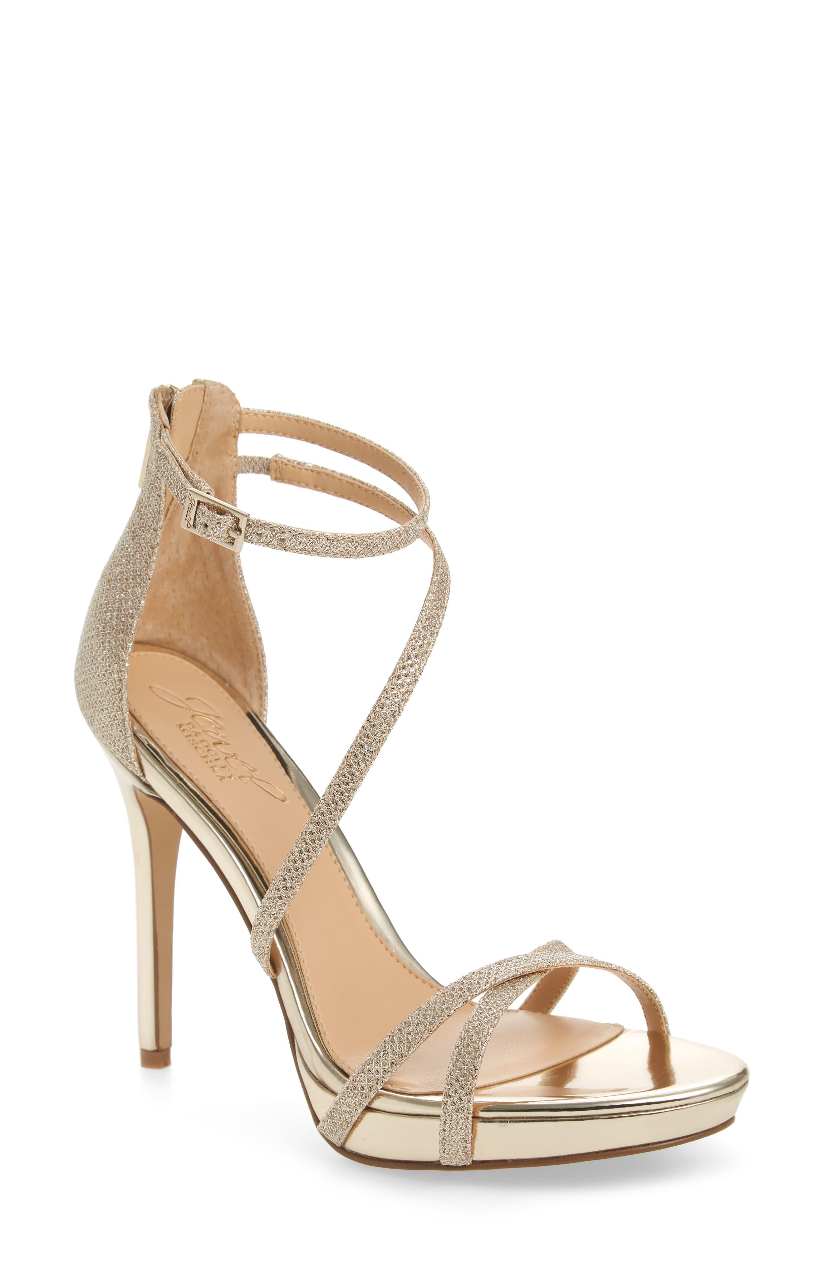 Galen Strappy Platform Sandal,                             Main thumbnail 1, color,                             Gold Glitter Fabric