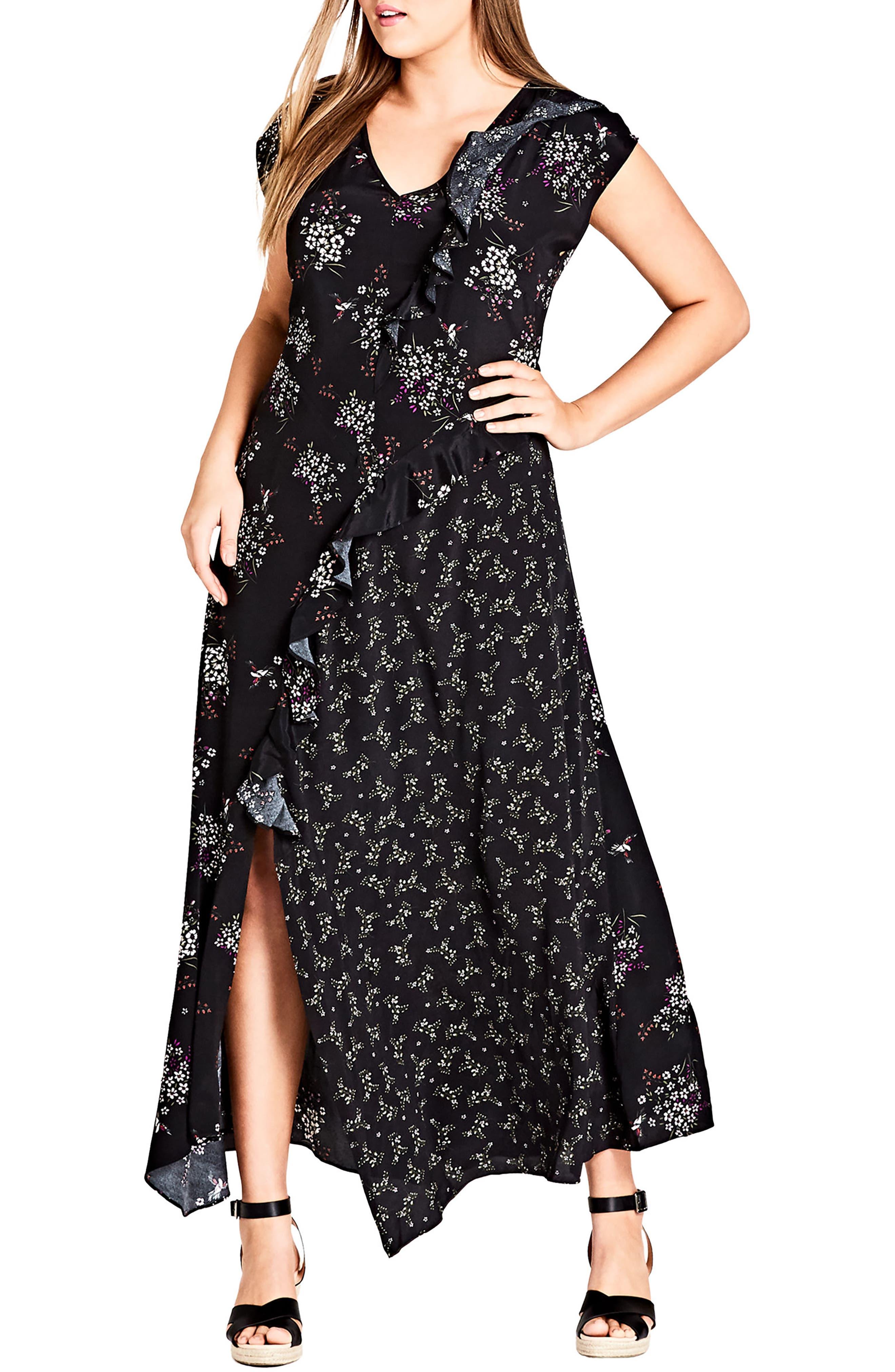 Asymmetric Paneled Maxi Dress,                         Main,                         color, Floral Mix