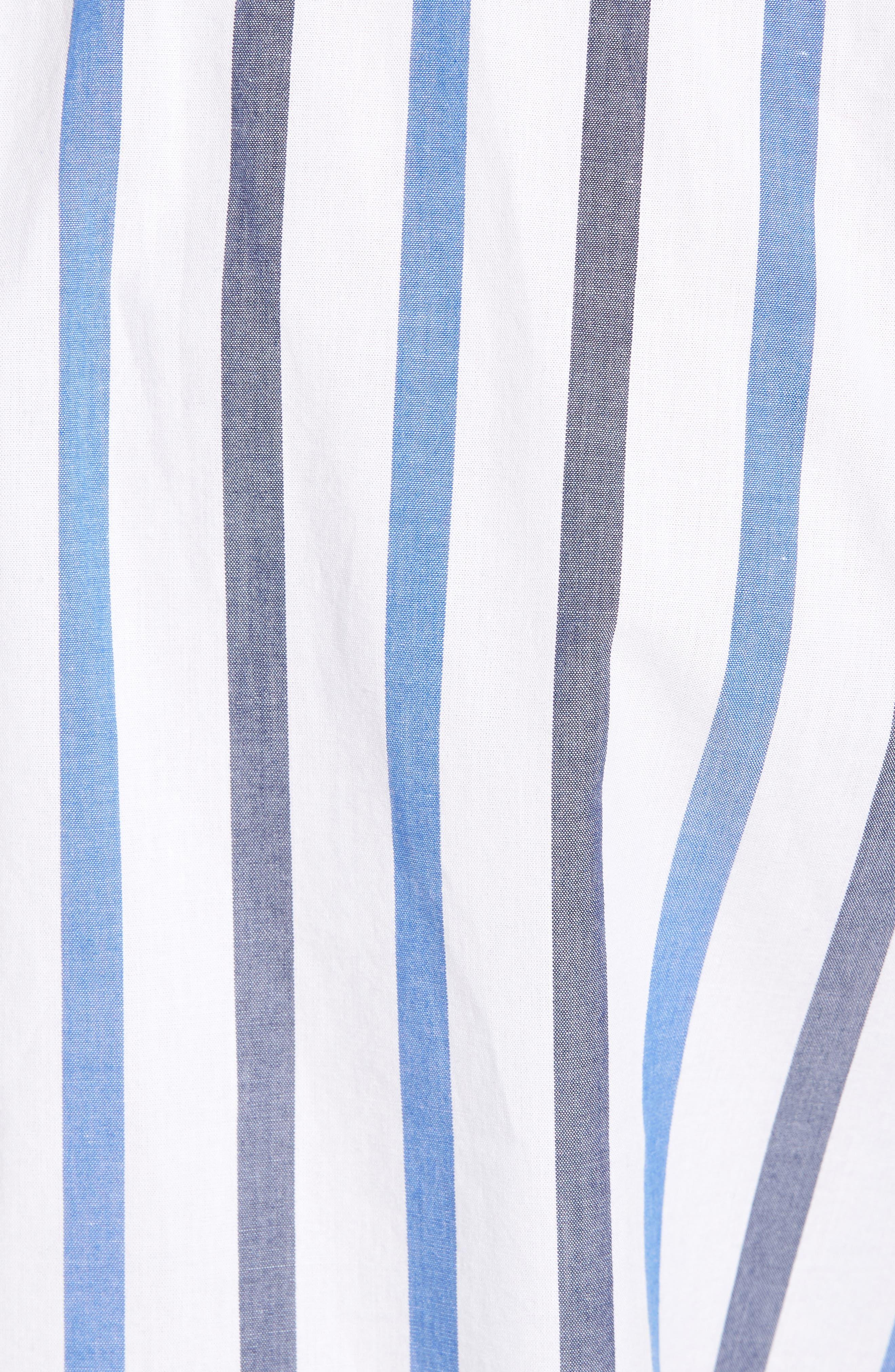 Trim Fit Stripe Stretch Sport Shirt,                             Alternate thumbnail 5, color,                             White Blue Stripe