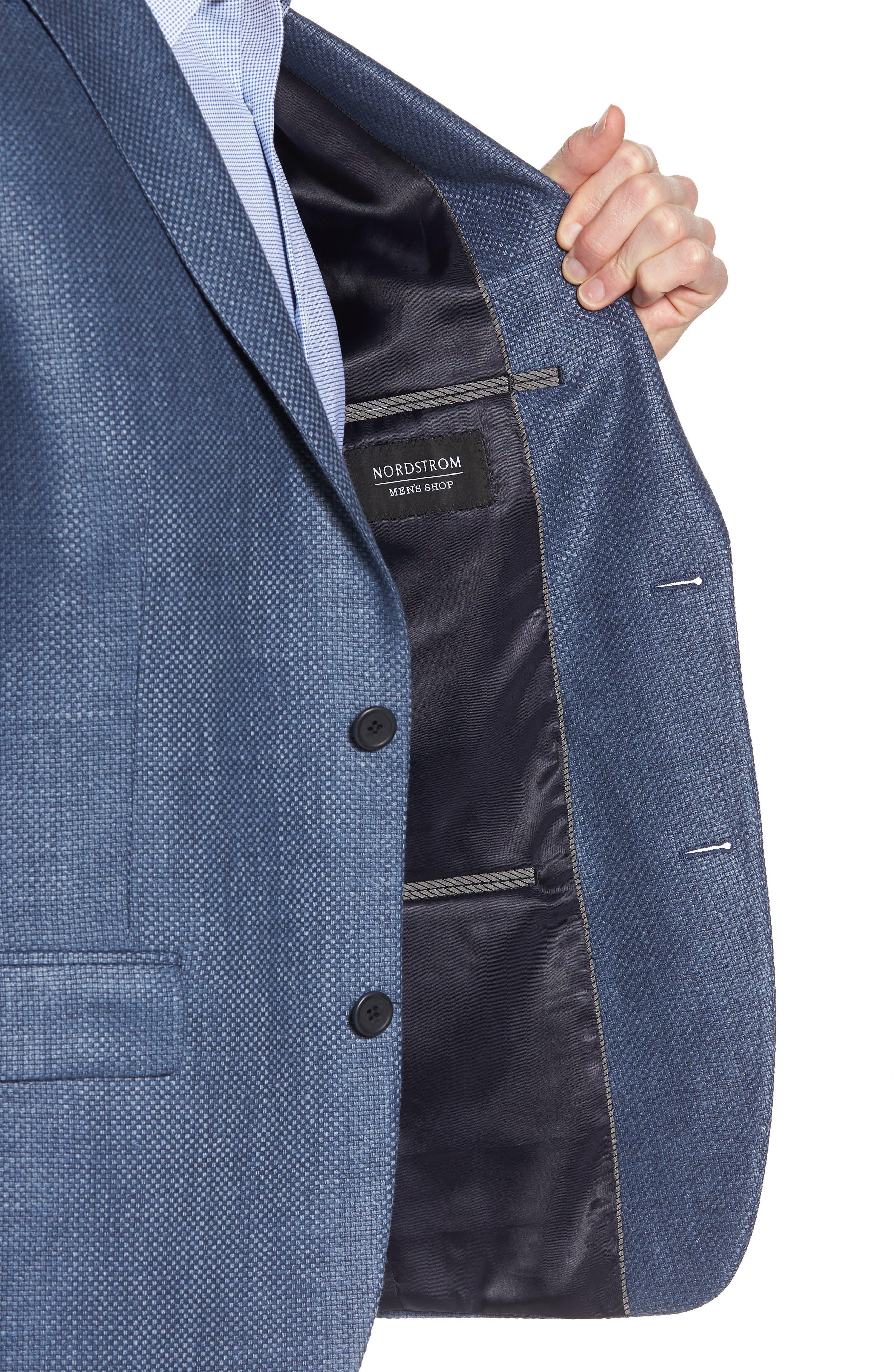 Trim Fit Wool & Linen Blazer,                             Alternate thumbnail 4, color,                             Blue
