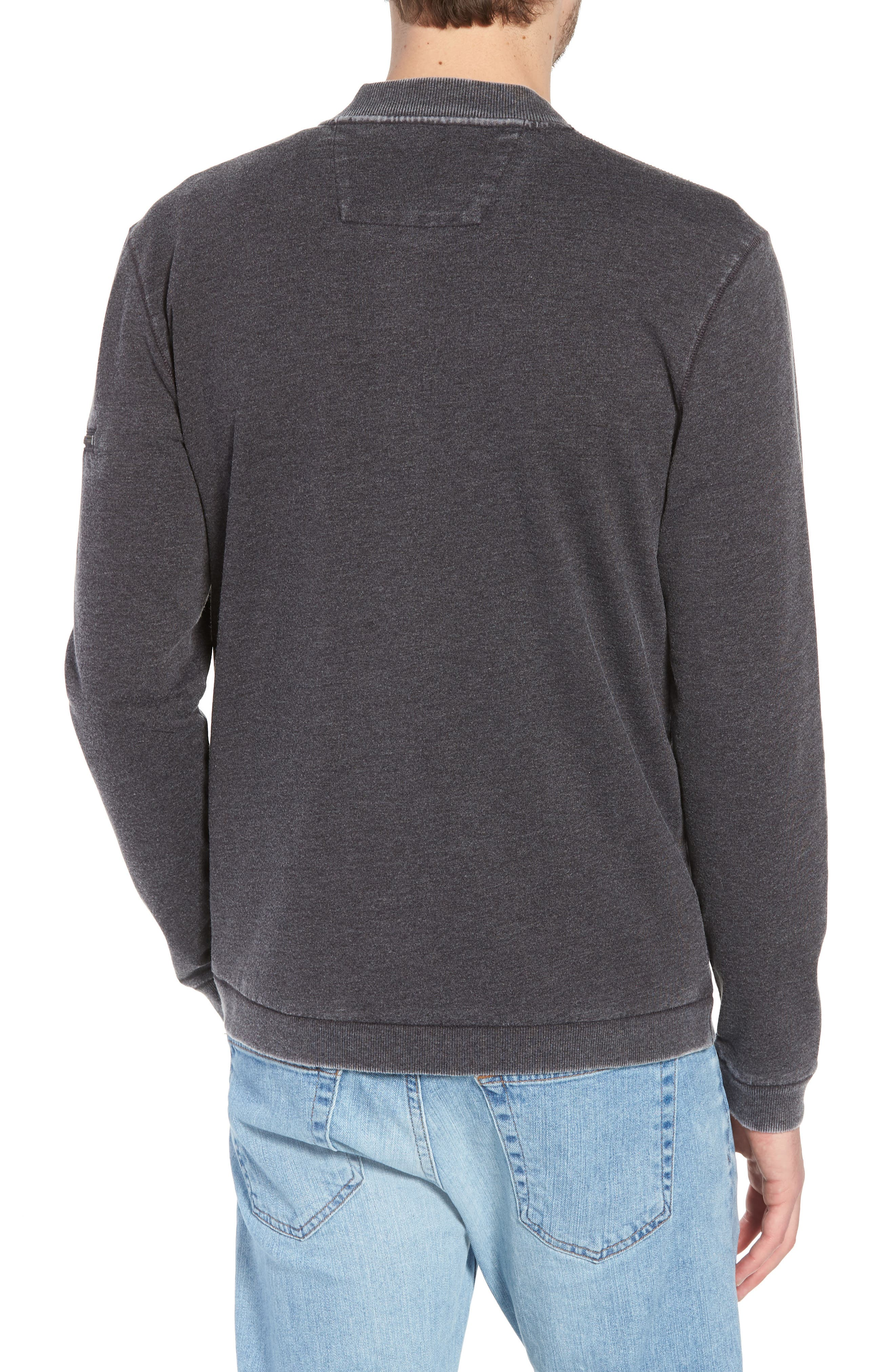 Burnout French Terry Zip Sweater,                             Alternate thumbnail 2, color,                             Metal Grey