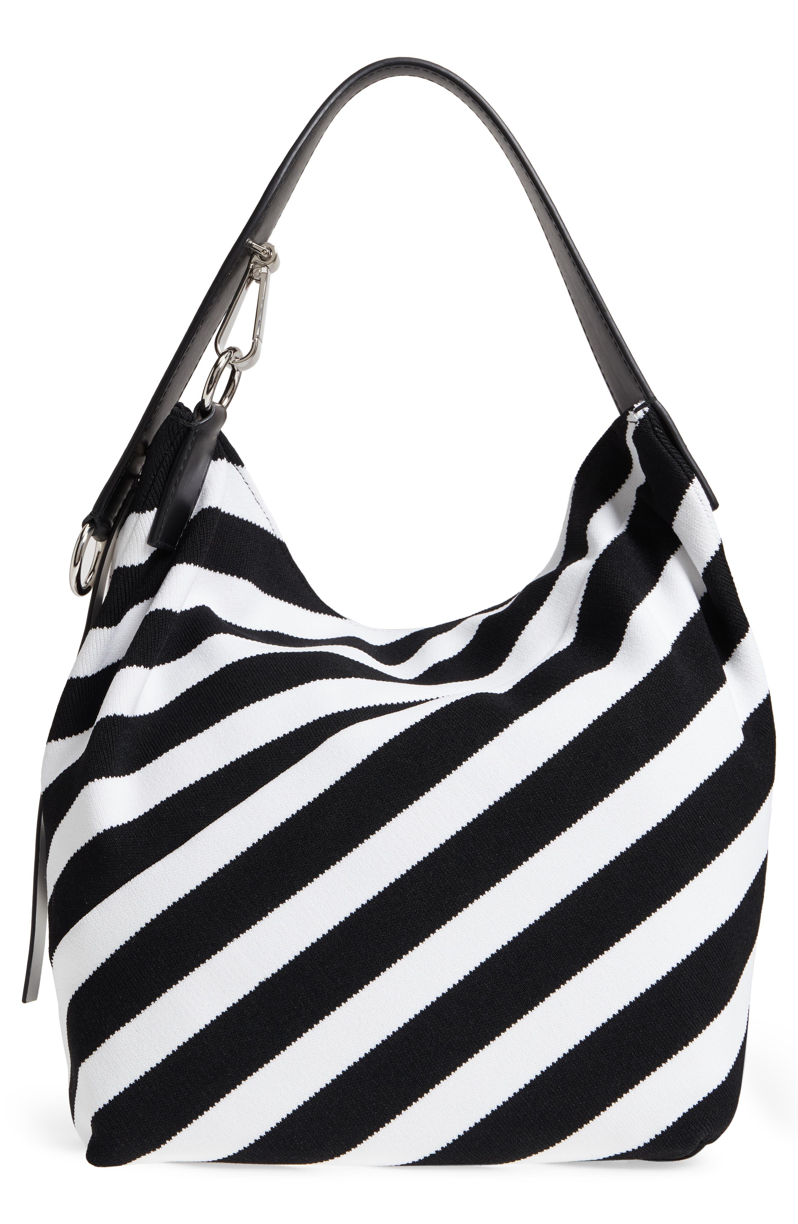 Medium Asymmetric Zip Stripe Textile Hobo,                             Alternate thumbnail 3, color,                             Black/ Ecru
