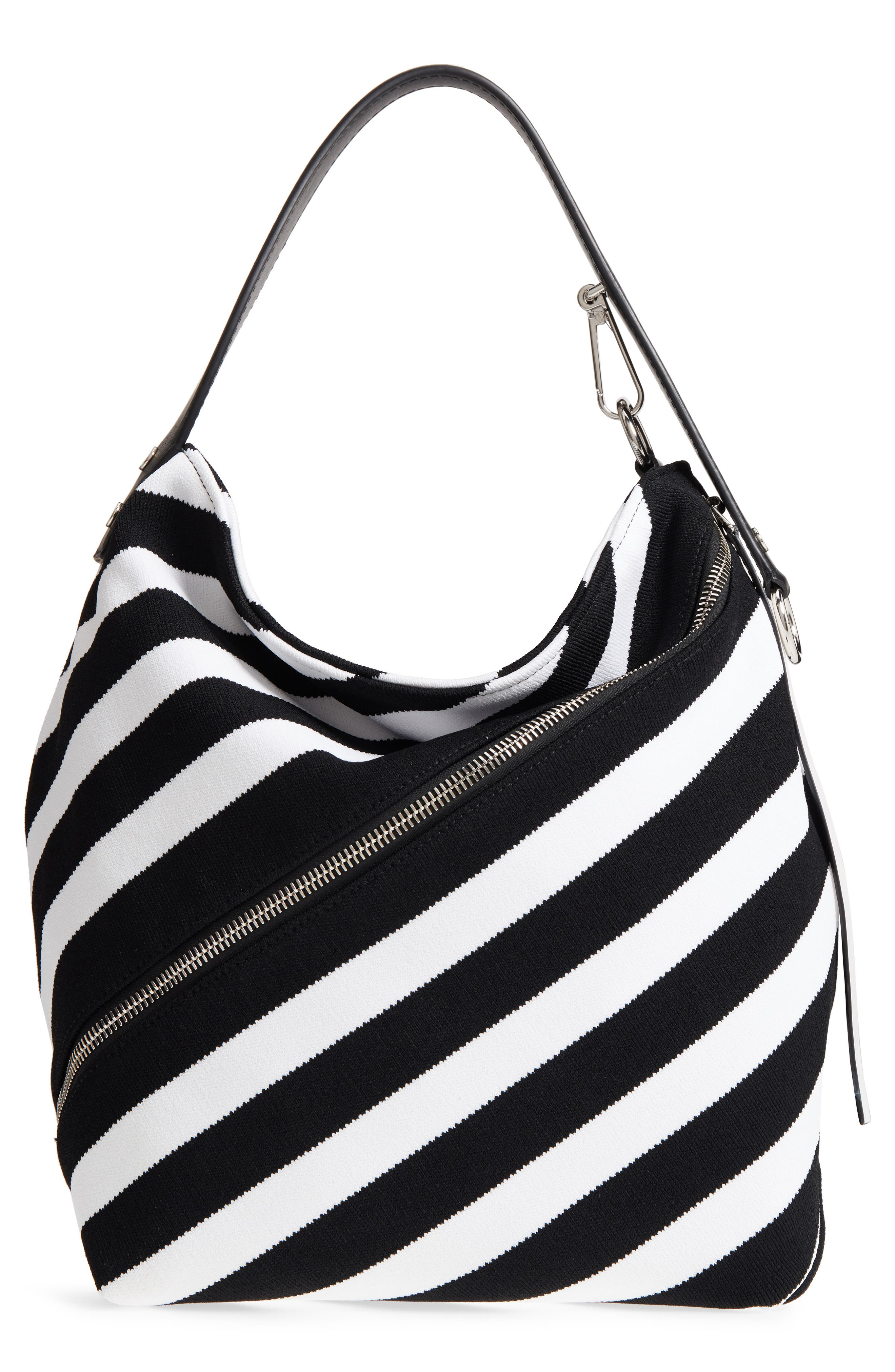 Medium Asymmetric Zip Stripe Textile Hobo,                         Main,                         color, Black/ Ecru