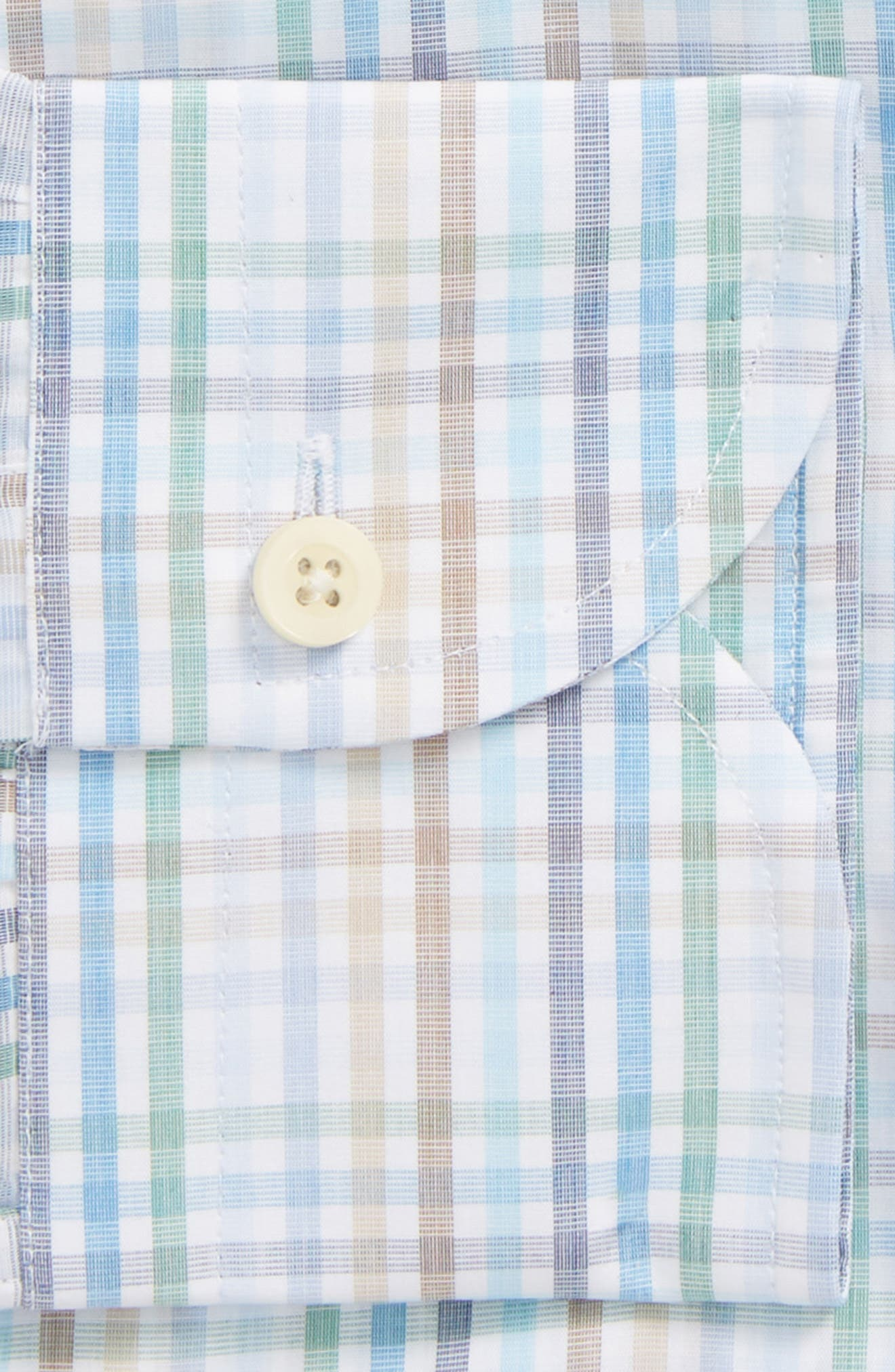 Albright Slim Fit Check Dress Shirt,                             Alternate thumbnail 5, color,                             Hunter