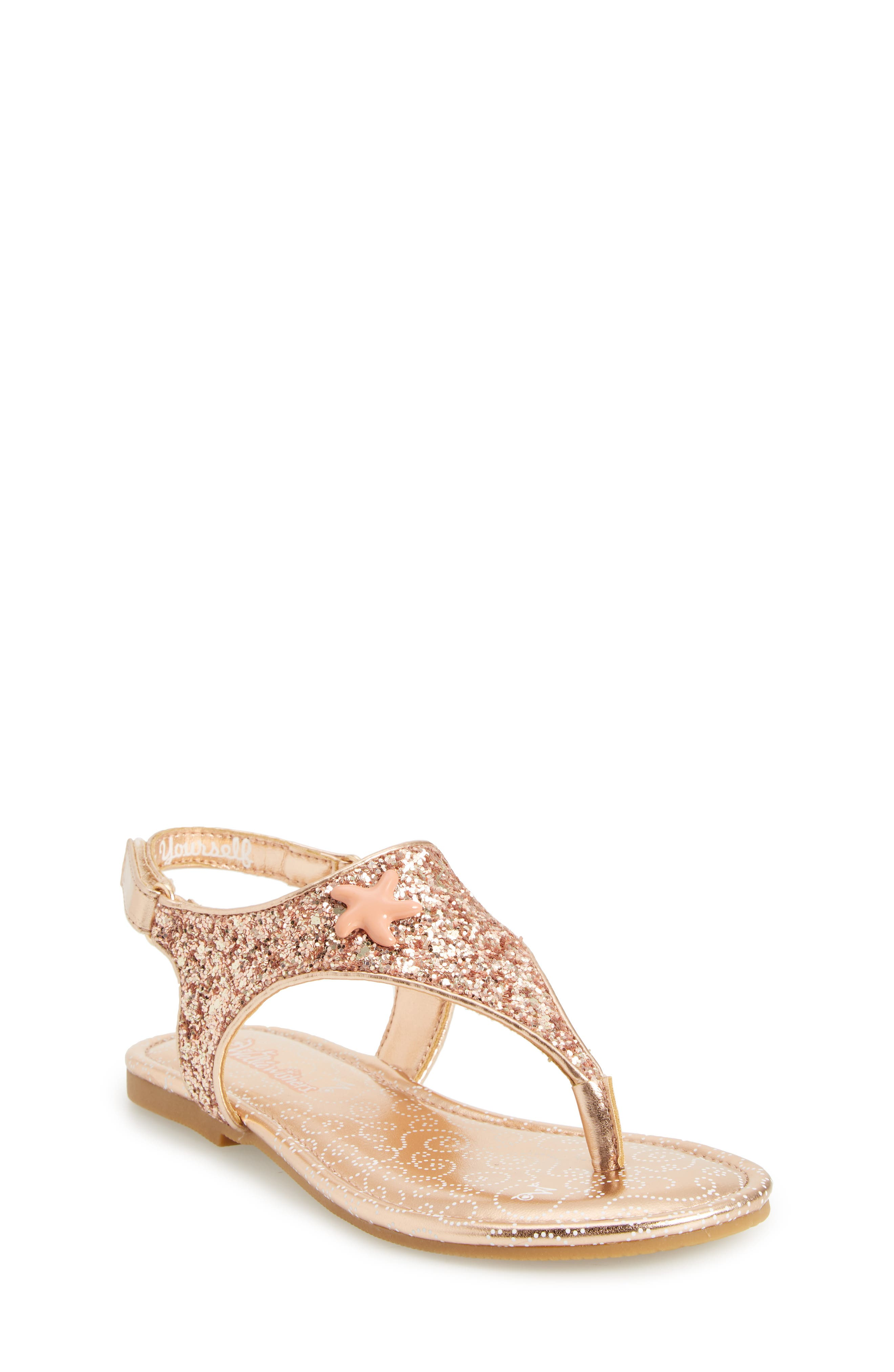 Camille Glitter Thong Sandal,                         Main,                         color, Rose Gold
