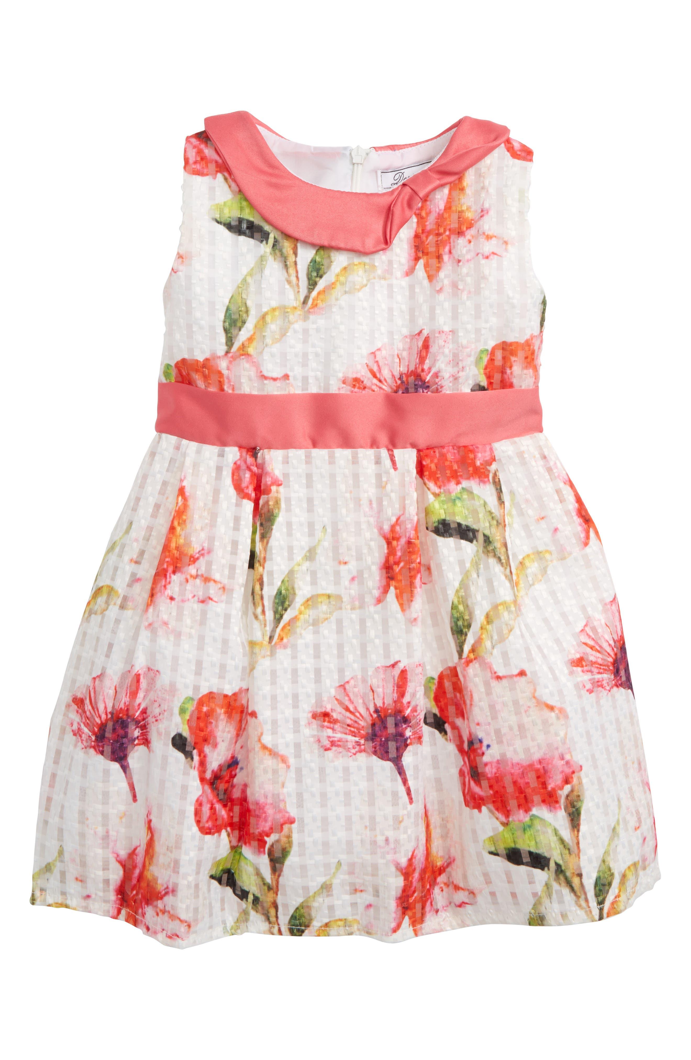 Veronica Flower Party Dress,                             Main thumbnail 1, color,                             Multi Print