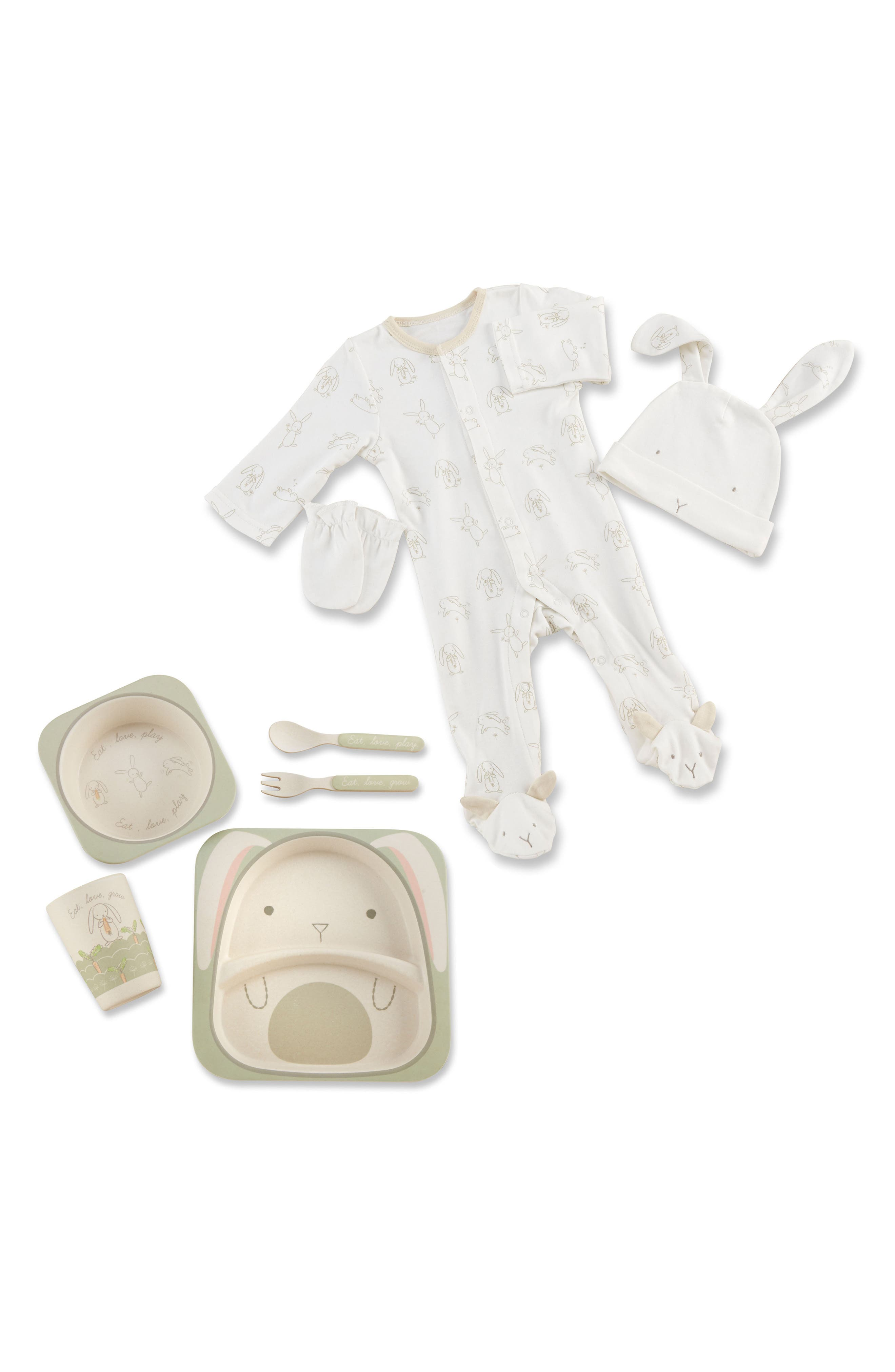 Natural Baby One-Piece Pajamas, Hat, Mittens & 5-Piece Feeding Set,                         Main,                         color, Beige And White