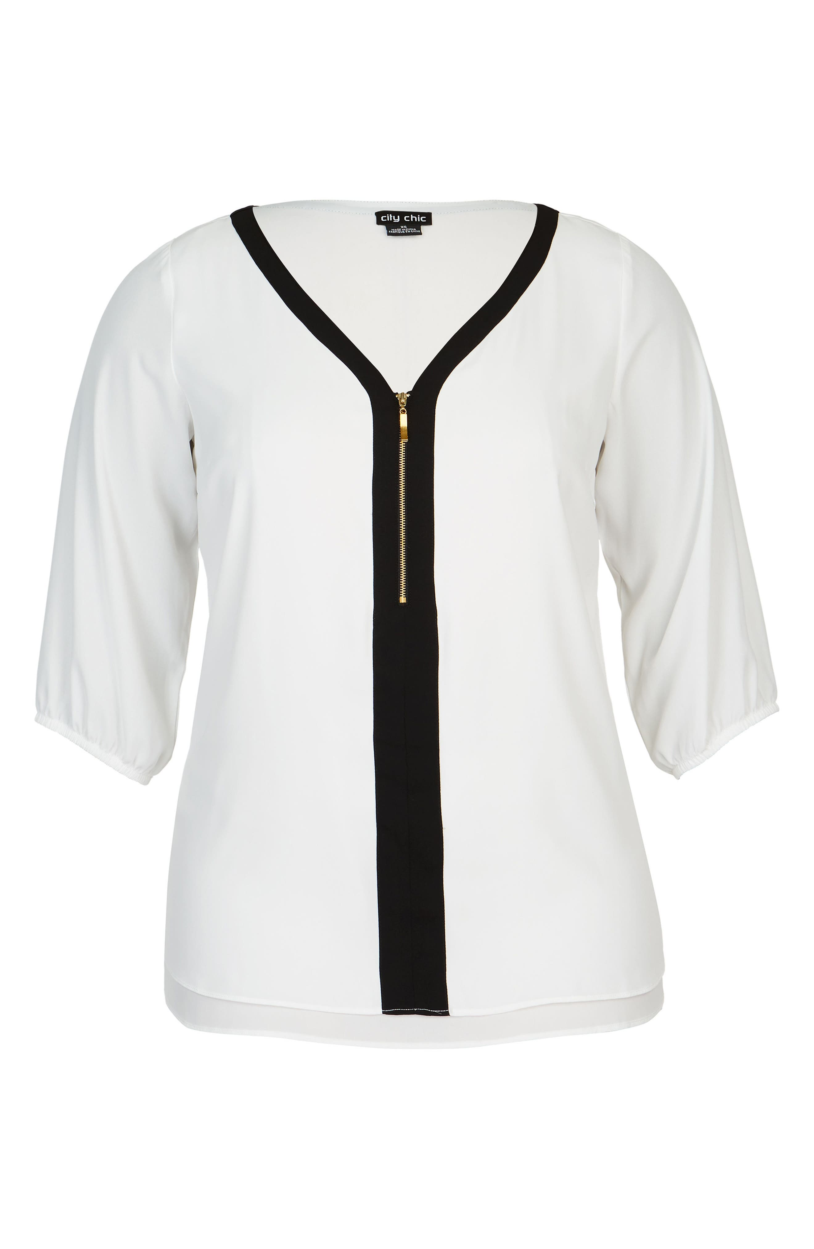 Zip Front Top,                             Alternate thumbnail 3, color,                             Ivory