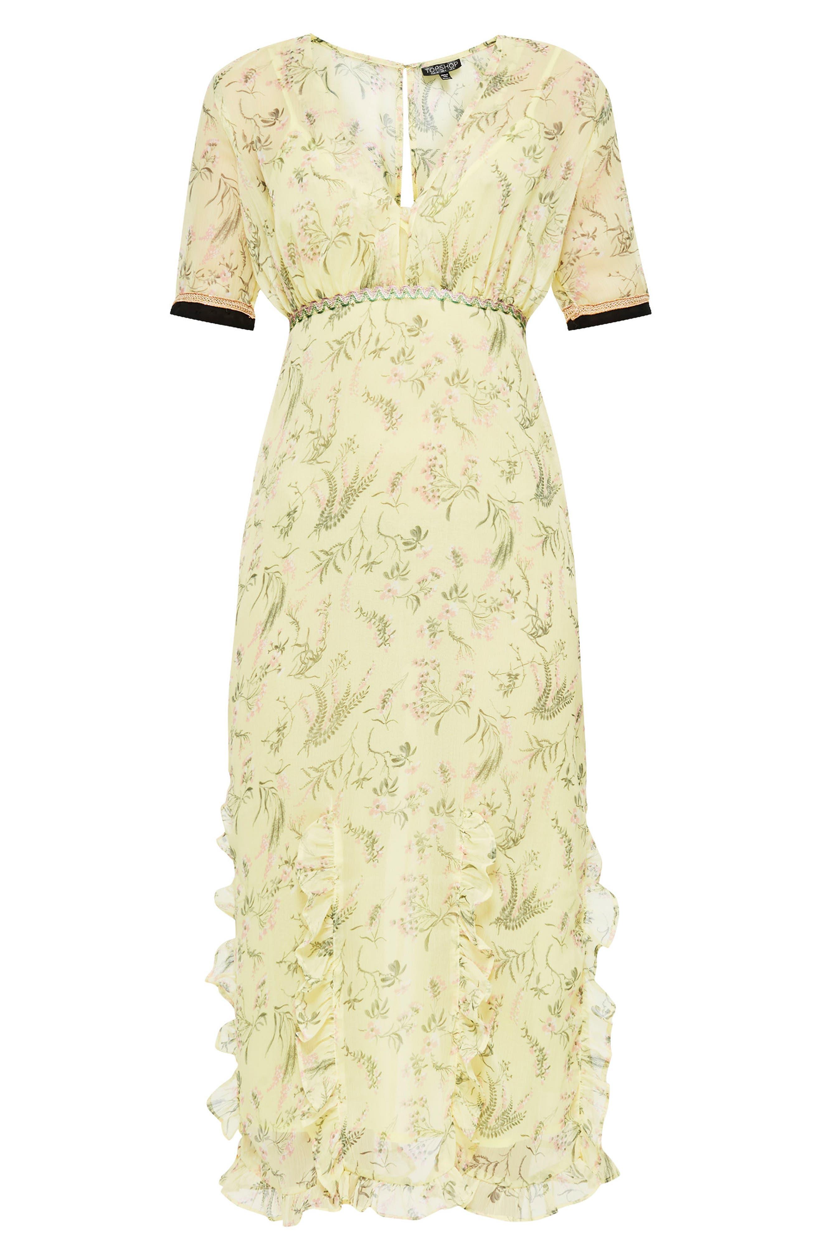 Rodeo Print Frill Midi Dress,                             Alternate thumbnail 4, color,                             Yellow Multi
