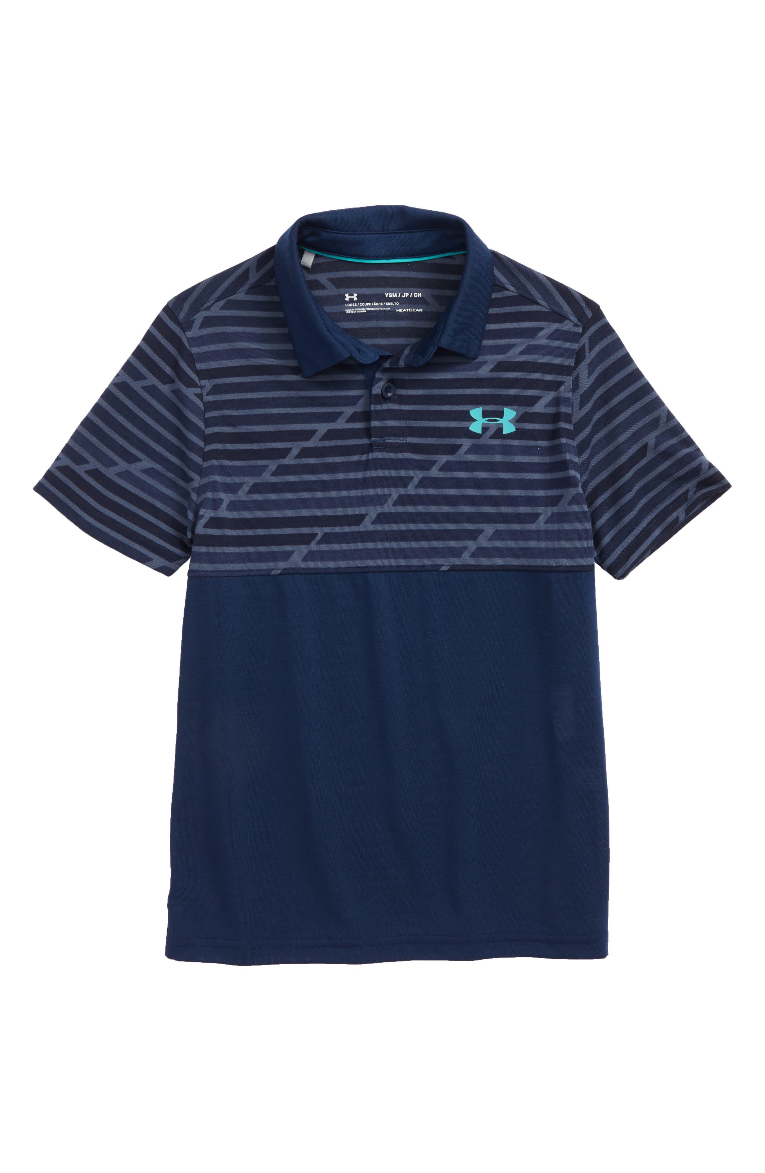 Threadborne HeatGear<sup>®</sup> Polo,                         Main,                         color, Academy Blue/ Teal Punch