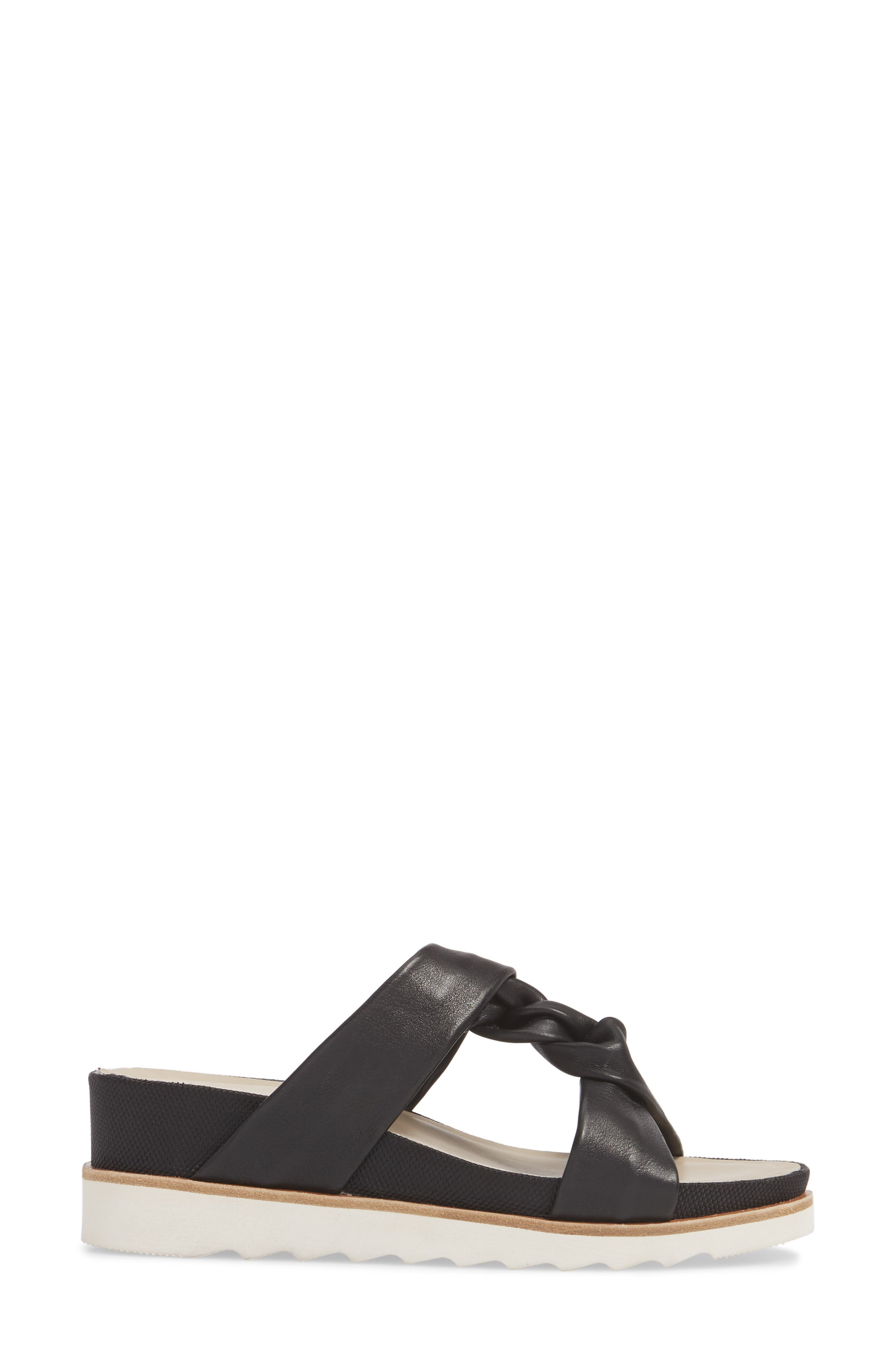 Ginger Slide Sandal,                             Alternate thumbnail 3, color,                             Black Leather